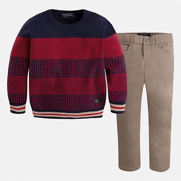Комплект: свитер и брюки для мальчика MayoralКомплекты<br>Характеристики товара:<br><br>• цвет: бежевый/красный<br>• состав ткани: свитер - 60% хлопок, 30% полиамид, 10% шерсть, брюки - 97% хлопок, 3% эластан<br>• комплектация: свитер и брюки<br>• сезон: демисезон<br>• особенности модели: школьная<br>• шлевки<br>• регулируемая талия<br>• застежка брюк: пуговица<br>• страна бренда: Испания<br>• страна изготовитель: Индия<br><br>Детский комплект из свитера и брюк сделан из плотного приятного на ощупь материала. Благодаря продуманному крою детского свитера создаются комфортные условия для тела. Брюки для мальчика отличаются классическим дизайном.<br><br>Комплект: свитер и брюки для мальчика Mayoral (Майорал) можно купить в нашем интернет-магазине.<br>Ширина мм: 215; Глубина мм: 88; Высота мм: 191; Вес г: 336; Цвет: бежевый/красный; Возраст от месяцев: 18; Возраст до месяцев: 24; Пол: Мужской; Возраст: Детский; Размер: 92,134,128,122,116,110,104,98; SKU: 6933025;