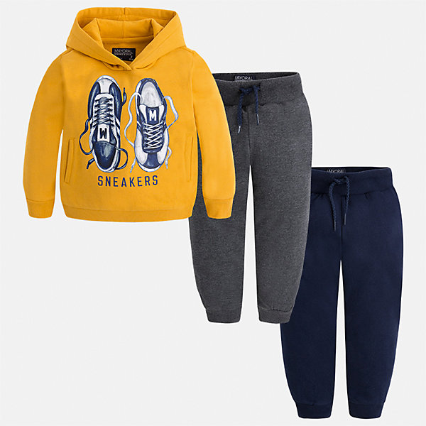 Спортивный костюм для мальчика MayoralКомплекты<br>Характеристики товара:<br><br>• цвет: желтый<br>• состав ткани: 60% хлопок, 40% полиэстер<br>• комплектация: куртка, 2 брюк<br>• сезон: демисезон<br>• особенности модели: спортивный стиль<br>• капюшон<br>• длинные рукава<br>• пояс брюк: резинка, шнурок<br>• страна бренда: Испания<br>• страна изготовитель: Индия<br><br>Модный спортивный костюм для мальчика от Майорал поможет обеспечить ребенку комфорт. Детский костюм для спорта отличается стильным и продуманным дизайном. В спортивном костюме для мальчика от испанской компании Майорал ребенок будет выглядеть модно, а чувствовать себя - комфортно. <br><br>Спортивный костюм для мальчика Mayoral (Майорал) можно купить в нашем интернет-магазине.<br>Ширина мм: 247; Глубина мм: 16; Высота мм: 140; Вес г: 225; Цвет: желтый; Возраст от месяцев: 18; Возраст до месяцев: 24; Пол: Мужской; Возраст: Детский; Размер: 92,134,128,122,116,110,104,98; SKU: 6933115;