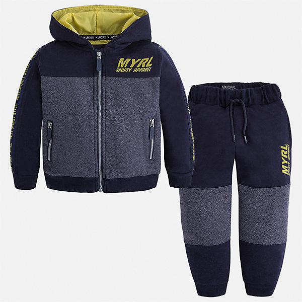 Спортивный костюм Mayoral для мальчикаКомплекты<br>Характеристики товара:<br><br>• цвет: желтый/синий/серый<br>• состав ткани: 60% хлопок, 40% полиэстер<br>• комплектация: куртка, брюки<br>• сезон: демисезон<br>• особенности модели: спортивный стиль<br>• застежка: молния<br>• длинные рукава<br>• пояс брюк: резинка, шнурок<br>• страна бренда: Испания<br>• страна изготовитель: Индия<br><br>Такой спортивный костюм для мальчика от Майорал поможет обеспечить ребенку комфорт. Детский костюм для спорта отличается стильным и продуманным дизайном. В спортивном костюме для мальчика от испанской компании Майорал ребенок будет выглядеть модно, а чувствовать себя - комфортно. <br><br>Спортивный костюм для мальчика Mayoral (Майорал) можно купить в нашем интернет-магазине.<br><br>Ширина мм: 247<br>Глубина мм: 16<br>Высота мм: 140<br>Вес г: 225<br>Цвет: сине-серый<br>Возраст от месяцев: 18<br>Возраст до месяцев: 24<br>Пол: Мужской<br>Возраст: Детский<br>Размер: 92,134,128,122,116,110,104,98<br>SKU: 6933124