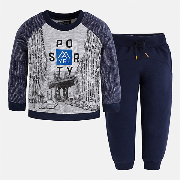 Спортивный костюм для мальчика MayoralСпортивная форма<br>Характеристики товара:<br><br>• цвет: синий<br>• состав ткани: 60% хлопок, 40% полиэстер<br>• комплектация: лонгслив, брюки<br>• сезон: демисезон<br>• особенности модели: спортивный стиль<br>• длинные рукава<br>• пояс брюк: резинка, шнурок<br>• страна бренда: Испания<br>• страна изготовитель: Индия<br><br>Модный спортивный костюм для мальчика от Майорал поможет обеспечить ребенку комфорт. Детский костюм для спорта отличается стильным и продуманным дизайном. В спортивном костюме для мальчика от испанской компании Майорал ребенок будет выглядеть модно, а чувствовать себя - комфортно. <br><br>Спортивный костюм для мальчика Mayoral (Майорал) можно купить в нашем интернет-магазине.<br><br>Ширина мм: 247<br>Глубина мм: 16<br>Высота мм: 140<br>Вес г: 225<br>Цвет: синий<br>Возраст от месяцев: 18<br>Возраст до месяцев: 24<br>Пол: Мужской<br>Возраст: Детский<br>Размер: 92,128,122,116,110,104,134,98<br>SKU: 6933151