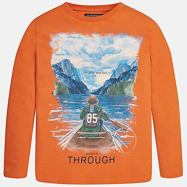 Футболка с длинным рукавом для мальчика MayoralФутболки с длинным рукавом<br>Характеристики товара:<br><br>• цвет: оранжевый<br>• состав ткани: 100% хлопок<br>• сезон: демисезон<br>• особенности модели: принт<br>• длинные рукава<br>• страна бренда: Испания<br>• страна изготовитель: Индия<br><br>Модный лонгслив для мальчика от Майорал поможет обеспечить ребенку комфорт. Детский лонгслив отличается стильным и продуманным дизайном. В футболке с длинным рукавом для мальчика от испанской компании Майорал ребенок будет выглядеть модно, а чувствовать себя - комфортно. <br><br>Лонгслив для мальчика Mayoral (Майорал) можно купить в нашем интернет-магазине.<br>Ширина мм: 230; Глубина мм: 40; Высота мм: 220; Вес г: 250; Цвет: оранжевый; Возраст от месяцев: 108; Возраст до месяцев: 120; Пол: Мужской; Возраст: Детский; Размер: 140,152,158,164,170,128/134; SKU: 6933167;