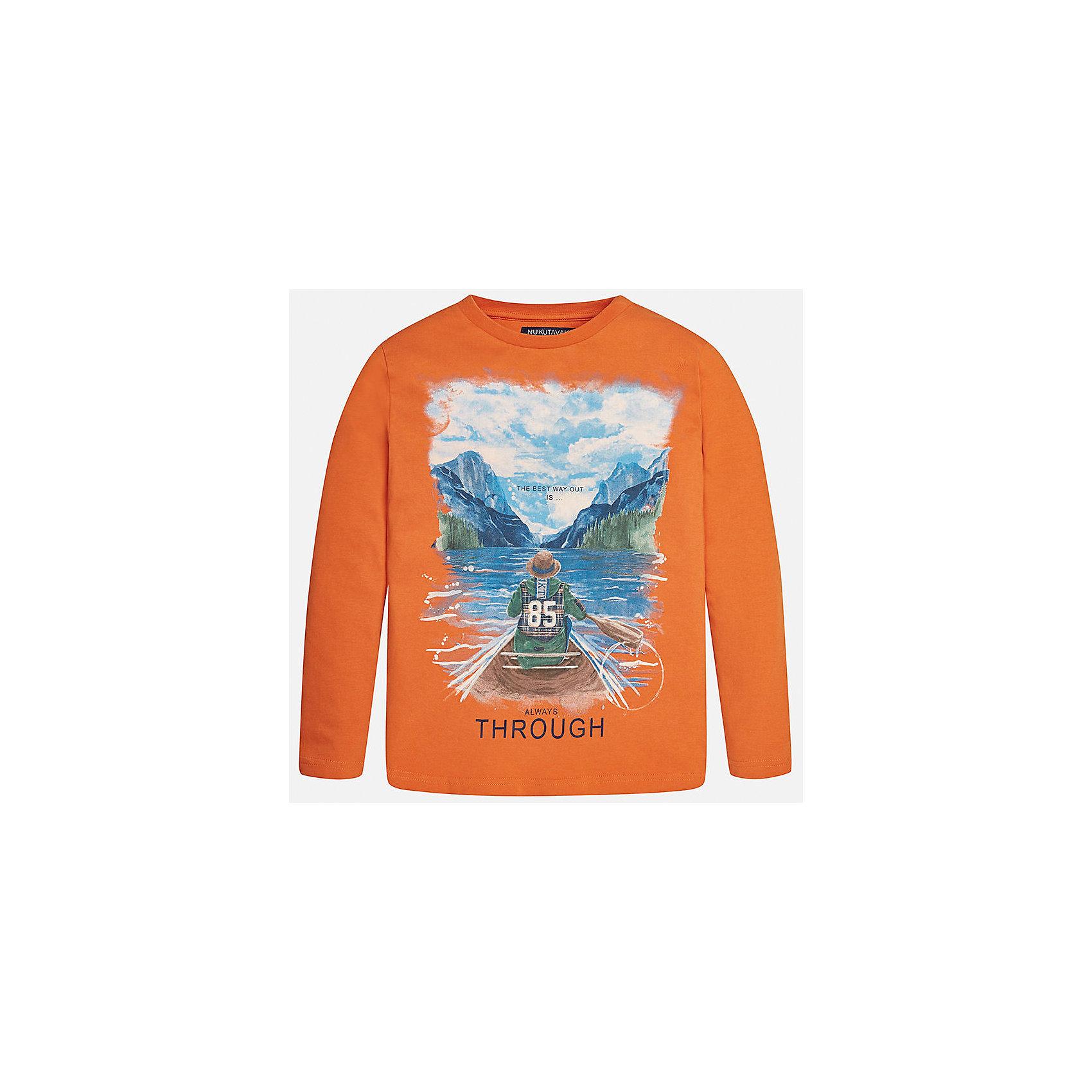 Футболка с длинным рукавом для мальчика MayoralФутболки с длинным рукавом<br>Характеристики товара:<br><br>• цвет: оранжевый<br>• состав ткани: 100% хлопок<br>• сезон: демисезон<br>• особенности модели: принт<br>• длинные рукава<br>• страна бренда: Испания<br>• страна изготовитель: Индия<br><br>Модный лонгслив для мальчика от Майорал поможет обеспечить ребенку комфорт. Детский лонгслив отличается стильным и продуманным дизайном. В футболке с длинным рукавом для мальчика от испанской компании Майорал ребенок будет выглядеть модно, а чувствовать себя - комфортно. <br><br>Лонгслив для мальчика Mayoral (Майорал) можно купить в нашем интернет-магазине.<br><br>Ширина мм: 230<br>Глубина мм: 40<br>Высота мм: 220<br>Вес г: 250<br>Цвет: бежевый<br>Возраст от месяцев: 156<br>Возраст до месяцев: 168<br>Пол: Мужской<br>Возраст: Детский<br>Размер: 164,170,128/134,140,152,158<br>SKU: 6933167