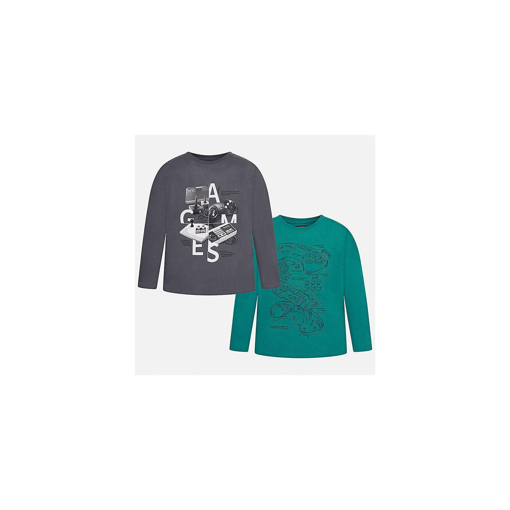 Футболка с длинным рукавом (2 шт.) Mayoral для мальчикаФутболки с длинным рукавом<br>Характеристики товара:<br><br>• цвет: серый, зеленый<br>• состав ткани: 100% хлопок<br>• комплектация: 2 шт<br>• сезон: демисезон<br>• особенности модели: принт<br>• длинные рукава<br>• страна бренда: Испания<br>• страна изготовитель: Индия<br><br>Комплект состоит из двух лонгсливов. Детский лонгслив с принтом сделан из дышащего приятного на ощупь материала. Благодаря продуманному крою детского лонгслива создаются комфортные условия для тела. Футболка с длинным рукавом для мальчика отличается стильным продуманным дизайном.<br><br>Лонгслив (2 шт.) для мальчика Mayoral (Майорал) можно купить в нашем интернет-магазине.<br><br>Ширина мм: 230<br>Глубина мм: 40<br>Высота мм: 220<br>Вес г: 250<br>Цвет: серебряный<br>Возраст от месяцев: 168<br>Возраст до месяцев: 180<br>Пол: Мужской<br>Возраст: Детский<br>Размер: 158,164,170,128/134,140,152<br>SKU: 6933383
