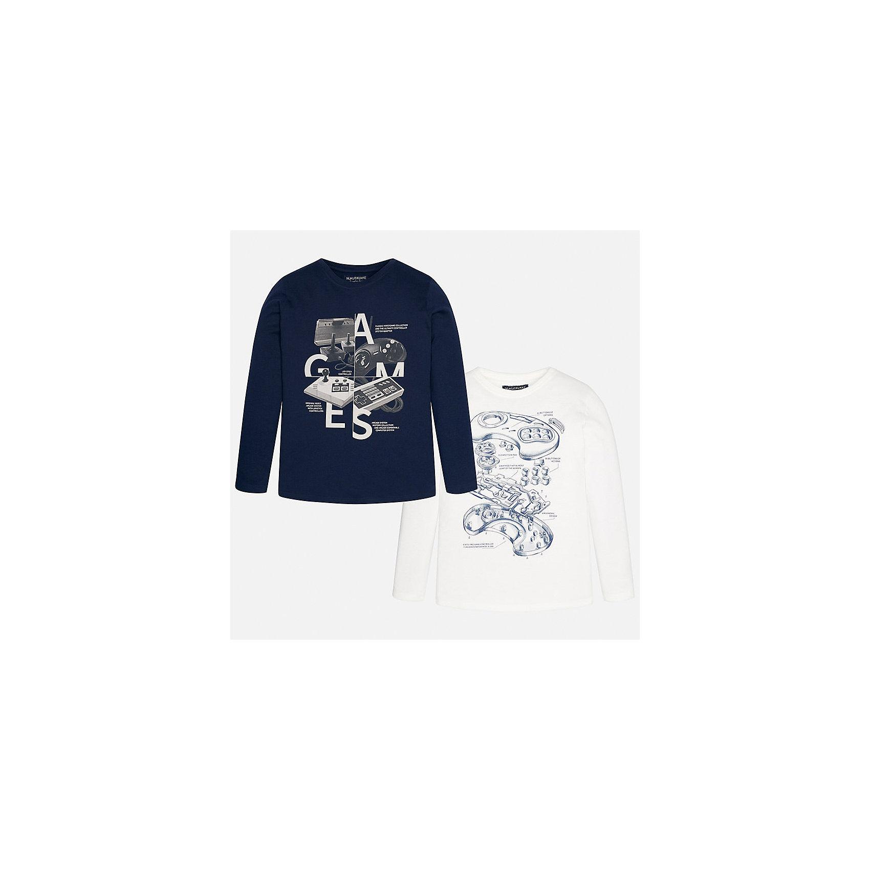 Футболка с длинным рукавом (2 шт.) для мальчика MayoralФутболки с длинным рукавом<br>Характеристики товара:<br><br>• цвет: синий, молочный<br>• состав ткани: 100% хлопок<br>• комплектация: 2 шт<br>• сезон: демисезон<br>• особенности модели: принт<br>• длинные рукава<br>• страна бренда: Испания<br>• страна изготовитель: Индия<br><br>Каждый лонгслив с принтом для мальчика из этого комплекта отMayoral удобно сидит по фигуре. Стильный детский лонгслив сделан из натуральной хлопковой ткани. Отличный способ обеспечить ребенку тепло и комфорт - надеть детский лонгслив от Mayoral. Детская футболка с длинным рукавом сшита из приятного на ощупь материала. <br><br>Лонгслив (2 шт.) для мальчика Mayoral (Майорал) можно купить в нашем интернет-магазине.<br><br>Ширина мм: 230<br>Глубина мм: 40<br>Высота мм: 220<br>Вес г: 250<br>Цвет: серый<br>Возраст от месяцев: 168<br>Возраст до месяцев: 180<br>Пол: Мужской<br>Возраст: Детский<br>Размер: 170,128/134,140,152,158,164<br>SKU: 6933390