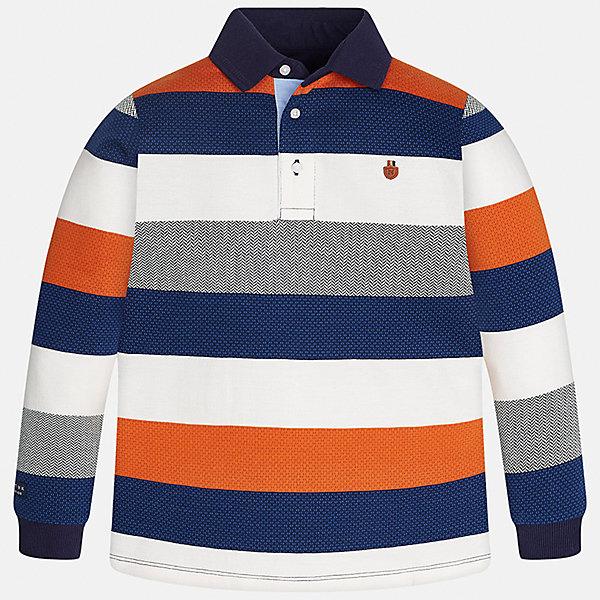 Футболка-поло с длинным рукавом для мальчика MayoralФутболки с длинным рукавом<br>Характеристики товара:<br><br>• цвет: синий/оранжевый/серый/белый<br>• состав ткани: 100% хлопок<br>• сезон: демисезон<br>• особенности модели: отложной воротник<br>• застежка: пуговицы<br>• длинные рукава<br>• страна бренда: Испания<br>• страна изготовитель: Индия<br><br>Полосатая рубашка-поло с длинным рукавом для мальчика от Майорал поможет обеспечить ребенку комфорт. Детская рубашка-поло с длинным рукавом в полоску отличается стильным и продуманным дизайном. В футболке-поло с длинным рукавом для мальчика от испанской компании Майорал ребенок будет выглядеть модно, а чувствовать себя - комфортно. <br><br>Рубашку-поло с длинным рукавом для мальчика Mayoral (Майорал) можно купить в нашем интернет-магазине.<br><br>Ширина мм: 230<br>Глубина мм: 40<br>Высота мм: 220<br>Вес г: 250<br>Цвет: разноцветный<br>Возраст от месяцев: 96<br>Возраст до месяцев: 108<br>Пол: Мужской<br>Возраст: Детский<br>Размер: 128/134,170,164,158,152,140<br>SKU: 6933418
