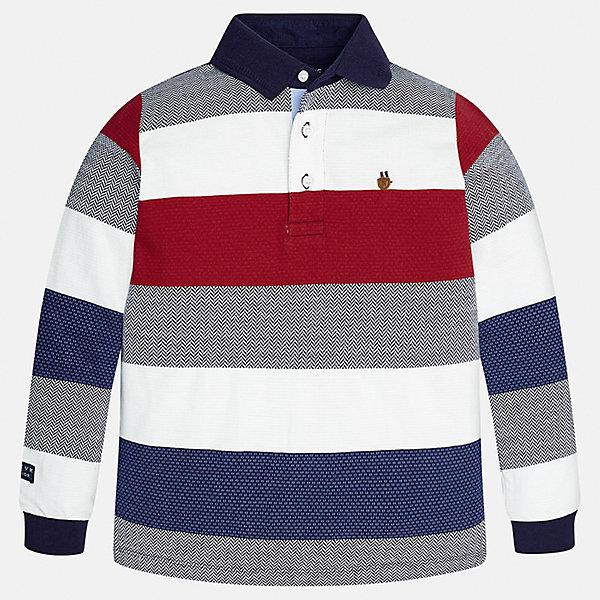 Футболка-поло с длинным рукавом для мальчика MayoralФутболки с длинным рукавом<br>Характеристики товара:<br><br>• цвет: красный/синий/серый/белый<br>• состав ткани: 100% хлопок<br>• сезон: демисезон<br>• особенности модели: отложной воротник<br>• застежка: пуговицы<br>• длинные рукава<br>• страна бренда: Испания<br>• страна изготовитель: Индия<br><br>рубашка-поло с длинным рукавом для мальчика Mayoral удобно сидит по фигуре. Стильная детская рубашка-поло с длинным рукавом сделана из натуральной хлопковой ткани. Отличный способ обеспечить ребенку тепло и комфорт - надеть детскую Рубашку-поло с длинным рукавом от Mayoral. Детская рубашка-поло с длинным рукавом сшита из приятного на ощупь материала. <br><br>Рубашку-поло с длинным рукавом для мальчика Mayoral (Майорал) можно купить в нашем интернет-магазине.<br>Ширина мм: 230; Глубина мм: 40; Высота мм: 220; Вес г: 250; Цвет: разноцветный; Возраст от месяцев: 144; Возраст до месяцев: 156; Пол: Мужской; Возраст: Детский; Размер: 158,152,140,128/134,170,164; SKU: 6933432;