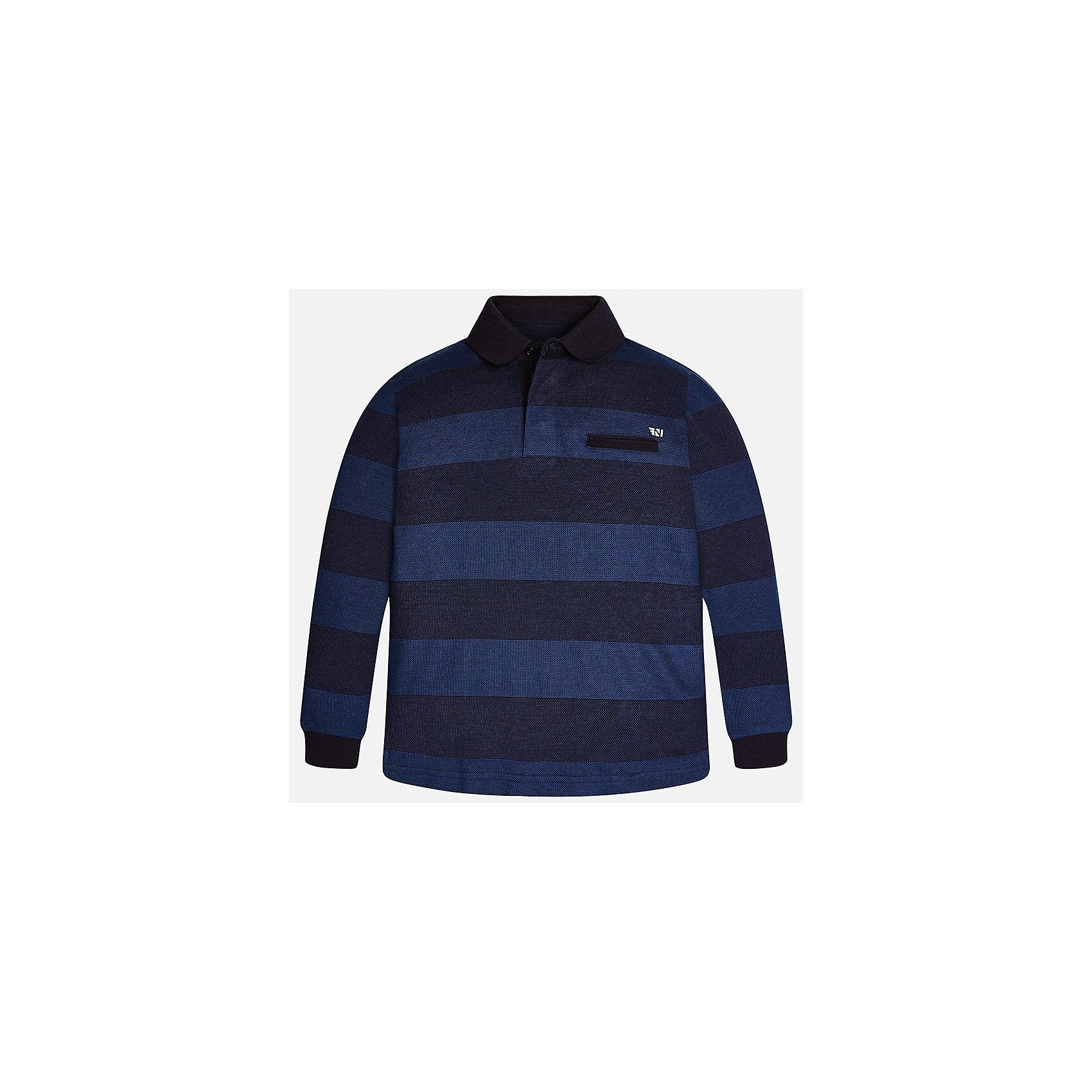 Футболка-поло с длинным рукавом для мальчика MayoralФутболки с длинным рукавом<br>Характеристики товара:<br><br>• цвет: черный/синий<br>• состав ткани: 100% хлопок<br>• сезон: демисезон<br>• особенности модели: отложной воротник<br>• застежка: пуговицы<br>• длинные рукава<br>• страна бренда: Испания<br>• страна изготовитель: Индия<br><br>Черная детская рубашка-поло с длинным рукавом сделана из дышащего приятного на ощупь материала. Благодаря продуманному крою детской футболки-поло создаются комфортные условия для тела. рубашка-поло с длинным рукавом для мальчика отличается стильным продуманным дизайном.<br><br>Рубашку-поло с длинным рукавом для мальчика Mayoral (Майорал) можно купить в нашем интернет-магазине.<br><br>Ширина мм: 230<br>Глубина мм: 40<br>Высота мм: 220<br>Вес г: 250<br>Цвет: черный<br>Возраст от месяцев: 156<br>Возраст до месяцев: 168<br>Пол: Мужской<br>Возраст: Детский<br>Размер: 164,170,140,152,158<br>SKU: 6933508