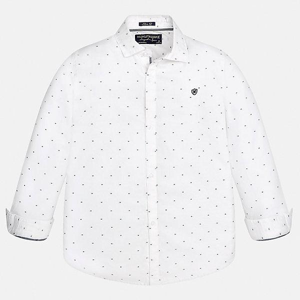 Рубашка Mayoral для мальчикаБлузки и рубашки<br>Характеристики товара:<br><br>• цвет: белый<br>• состав ткани: 100% хлопок<br>• сезон: демисезон<br>• особенности модели: школьная<br>• застежка: пуговицы<br>• длинные рукава<br>• страна бренда: Испания<br>• страна изготовитель: Индия<br><br>Хлопковая белая рубашка с длинным рукавом для мальчика от Майорал поможет обеспечить ребенку комфорт. Детская рубашка отличается стильным и продуманным дизайном. В рубашке для мальчика от испанской компании Майорал ребенок будет выглядеть модно, а чувствовать себя - комфортно. <br><br>Рубашку для мальчика Mayoral (Майорал) можно купить в нашем интернет-магазине.<br><br>Ширина мм: 174<br>Глубина мм: 10<br>Высота мм: 169<br>Вес г: 157<br>Цвет: белый<br>Возраст от месяцев: 132<br>Возраст до месяцев: 144<br>Пол: Мужской<br>Возраст: Детский<br>Размер: 152,140,128/134,170,164,158<br>SKU: 6933521