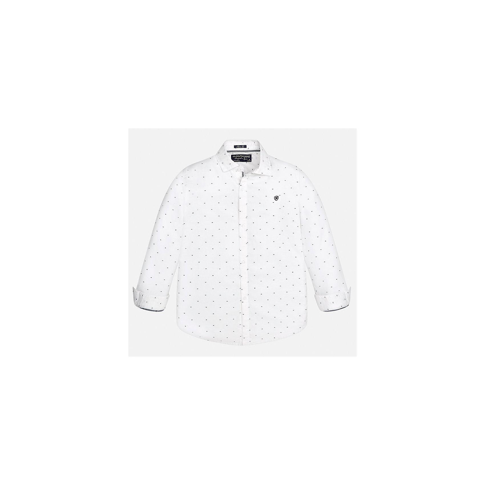 Рубашка Mayoral для мальчикаБлузки и рубашки<br>Характеристики товара:<br><br>• цвет: белый<br>• состав ткани: 100% хлопок<br>• сезон: демисезон<br>• особенности модели: школьная<br>• застежка: пуговицы<br>• длинные рукава<br>• страна бренда: Испания<br>• страна изготовитель: Индия<br><br>Хлопковая белая рубашка с длинным рукавом для мальчика от Майорал поможет обеспечить ребенку комфорт. Детская рубашка отличается стильным и продуманным дизайном. В рубашке для мальчика от испанской компании Майорал ребенок будет выглядеть модно, а чувствовать себя - комфортно. <br><br>Рубашку для мальчика Mayoral (Майорал) можно купить в нашем интернет-магазине.<br><br>Ширина мм: 174<br>Глубина мм: 10<br>Высота мм: 169<br>Вес г: 157<br>Цвет: белый<br>Возраст от месяцев: 168<br>Возраст до месяцев: 180<br>Пол: Мужской<br>Возраст: Детский<br>Размер: 170,128/134,140,152,158,164<br>SKU: 6933521