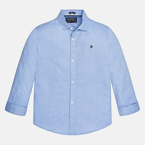 Рубашка для мальчика MayoralБлузки и рубашки<br>Характеристики товара:<br><br>• цвет: голубой<br>• состав ткани: 100% хлопок<br>• сезон: демисезон<br>• особенности модели: школьная<br>• застежка: пуговицы<br>• длинные рукава<br>• страна бренда: Испания<br>• страна изготовитель: Индия<br><br>Голубая детская рубашка сделана из дышащего приятного на ощупь материала. Благодаря продуманному крою детской рубашки создаются комфортные условия для тела. Рубашка с длинным рукавом для мальчика отличается стильным продуманным дизайном.<br><br>Рубашку для мальчика Mayoral (Майорал) можно купить в нашем интернет-магазине.<br><br>Ширина мм: 174<br>Глубина мм: 10<br>Высота мм: 169<br>Вес г: 157<br>Цвет: голубой<br>Возраст от месяцев: 96<br>Возраст до месяцев: 108<br>Пол: Мужской<br>Возраст: Детский<br>Размер: 128/134,170,164,158,152,140<br>SKU: 6933528