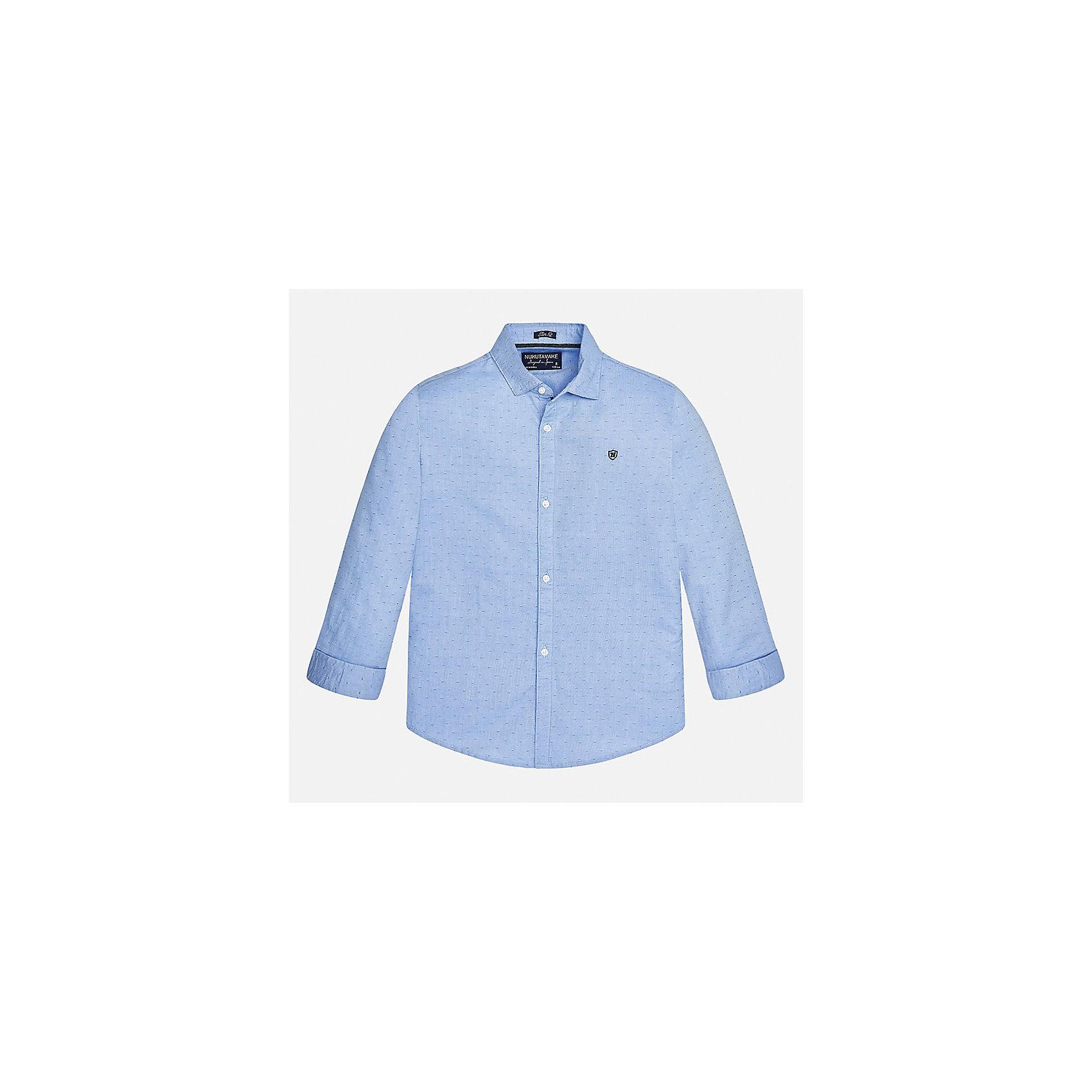 Рубашка для мальчика MayoralБлузки и рубашки<br>Характеристики товара:<br><br>• цвет: голубой<br>• состав ткани: 100% хлопок<br>• сезон: демисезон<br>• особенности модели: школьная<br>• застежка: пуговицы<br>• длинные рукава<br>• страна бренда: Испания<br>• страна изготовитель: Индия<br><br>Голубая детская рубашка сделана из дышащего приятного на ощупь материала. Благодаря продуманному крою детской рубашки создаются комфортные условия для тела. Рубашка с длинным рукавом для мальчика отличается стильным продуманным дизайном.<br><br>Рубашку для мальчика Mayoral (Майорал) можно купить в нашем интернет-магазине.<br><br>Ширина мм: 174<br>Глубина мм: 10<br>Высота мм: 169<br>Вес г: 157<br>Цвет: голубой<br>Возраст от месяцев: 168<br>Возраст до месяцев: 180<br>Пол: Мужской<br>Возраст: Детский<br>Размер: 170,128/134,140,152,158,164<br>SKU: 6933528