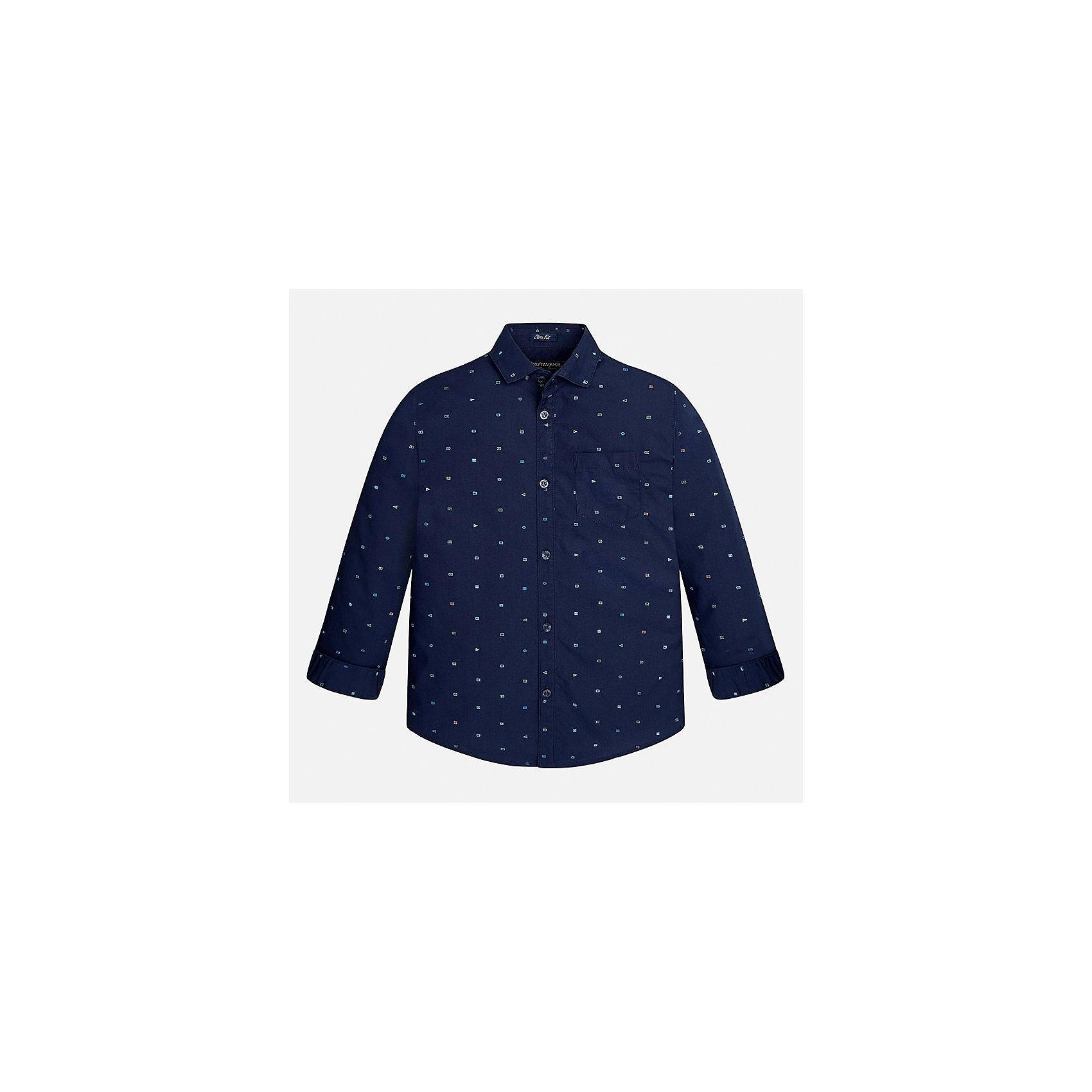 Рубашка Mayoral для мальчикаБлузки и рубашки<br>Характеристики товара:<br><br>• цвет: синий<br>• состав ткани: 100% хлопок<br>• сезон: демисезон<br>• особенности модели: школьная<br>• застежка: пуговицы<br>• длинные рукава<br>• страна бренда: Испания<br>• страна изготовитель: Индия<br><br>Такая рубашка с длинным рукавом для мальчика Mayoral удобно сидит по фигуре. Стильная детская рубашка сделана из натуральной хлопковой ткани. Отличный способ обеспечить ребенку комфорт и аккуратный внешний вид - надеть детскую рубашку от Mayoral. Детская рубашка с длинным рукавом сшита из приятного на ощупь материала. <br><br>Рубашку для мальчика Mayoral (Майорал) можно купить в нашем интернет-магазине.<br><br>Ширина мм: 174<br>Глубина мм: 10<br>Высота мм: 169<br>Вес г: 157<br>Цвет: белый<br>Возраст от месяцев: 168<br>Возраст до месяцев: 180<br>Пол: Мужской<br>Возраст: Детский<br>Размер: 140,152,158,164,170,128/134<br>SKU: 6933535