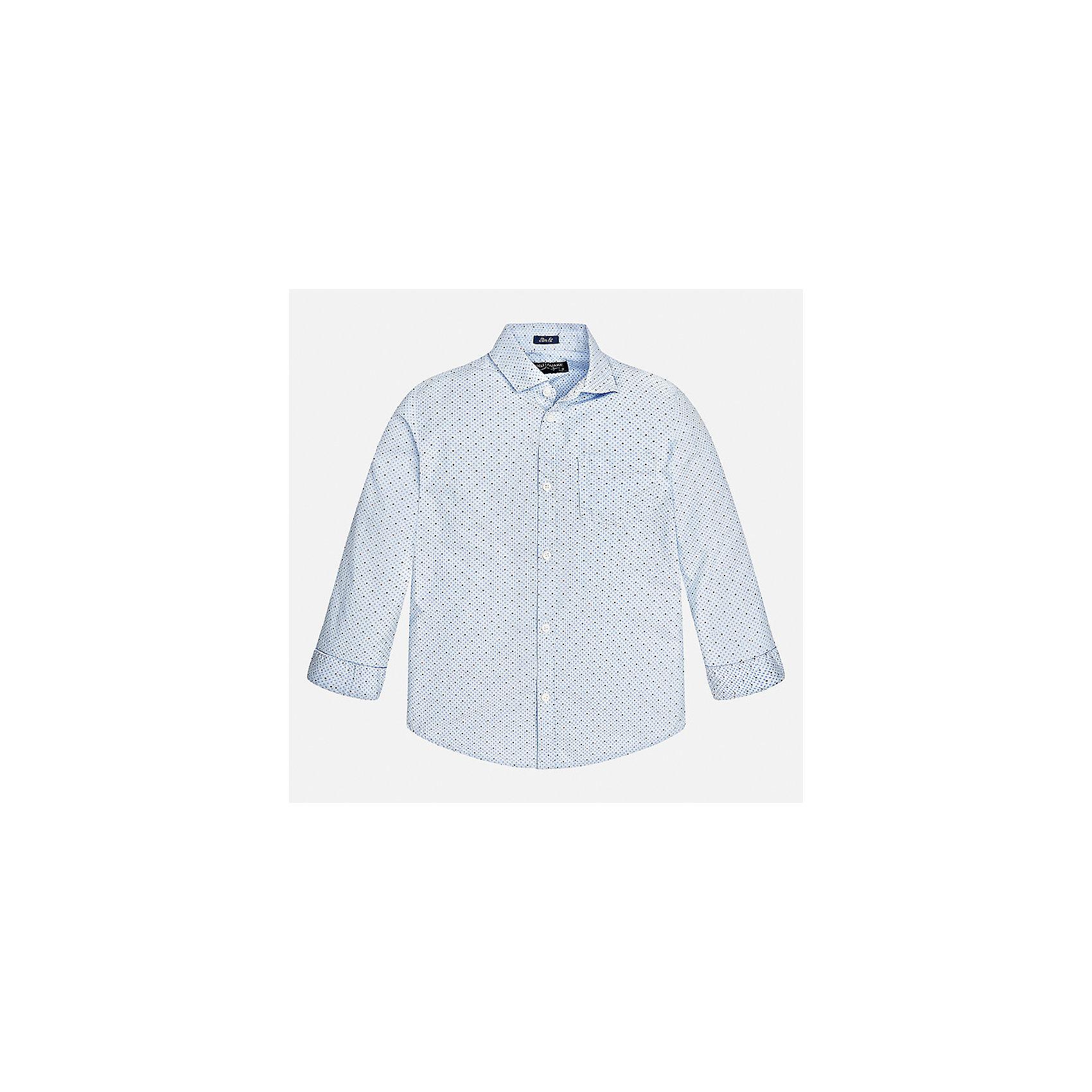 Рубашка Mayoral для мальчикаБлузки и рубашки<br>Характеристики товара:<br><br>• цвет: голубой<br>• состав ткани: 100% хлопок<br>• сезон: демисезон<br>• особенности модели: школьная<br>• застежка: пуговицы<br>• длинные рукава<br>• страна бренда: Испания<br>• страна изготовитель: Индия<br><br>Голубая рубашка с длинным рукавом для мальчика от Майорал поможет обеспечить ребенку комфорт. Детская рубашка отличается стильным и продуманным дизайном. В рубашке для мальчика от испанской компании Майорал ребенок будет выглядеть модно, а чувствовать себя - комфортно. <br><br>Рубашку для мальчика Mayoral (Майорал) можно купить в нашем интернет-магазине.<br><br>Ширина мм: 174<br>Глубина мм: 10<br>Высота мм: 169<br>Вес г: 157<br>Цвет: голубой<br>Возраст от месяцев: 156<br>Возраст до месяцев: 168<br>Пол: Мужской<br>Возраст: Детский<br>Размер: 164,170,128/134,140,152,158<br>SKU: 6933542