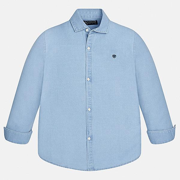 Рубашка для мальчика MayoralБлузки и рубашки<br>Характеристики товара:<br><br>• цвет: голубой<br>• состав ткани: 100% хлопок<br>• сезон: демисезон<br>• особенности модели: школьная<br>• застежка: пуговицы<br>• длинные рукава<br>• страна бренда: Испания<br>• страна изготовитель: Индия<br><br>Голубая рубашка с длинным рукавом для мальчика от Майорал поможет обеспечить ребенку комфорт. Детская рубашка отличается стильным и продуманным дизайном. В рубашке для мальчика от испанской компании Майорал ребенок будет выглядеть модно, а чувствовать себя - комфортно. <br><br>Рубашку для мальчика Mayoral (Майорал) можно купить в нашем интернет-магазине.<br><br>Ширина мм: 174<br>Глубина мм: 10<br>Высота мм: 169<br>Вес г: 157<br>Цвет: голубой<br>Возраст от месяцев: 96<br>Возраст до месяцев: 108<br>Пол: Мужской<br>Возраст: Детский<br>Размер: 128/134,170,164,158,152,140<br>SKU: 6933563