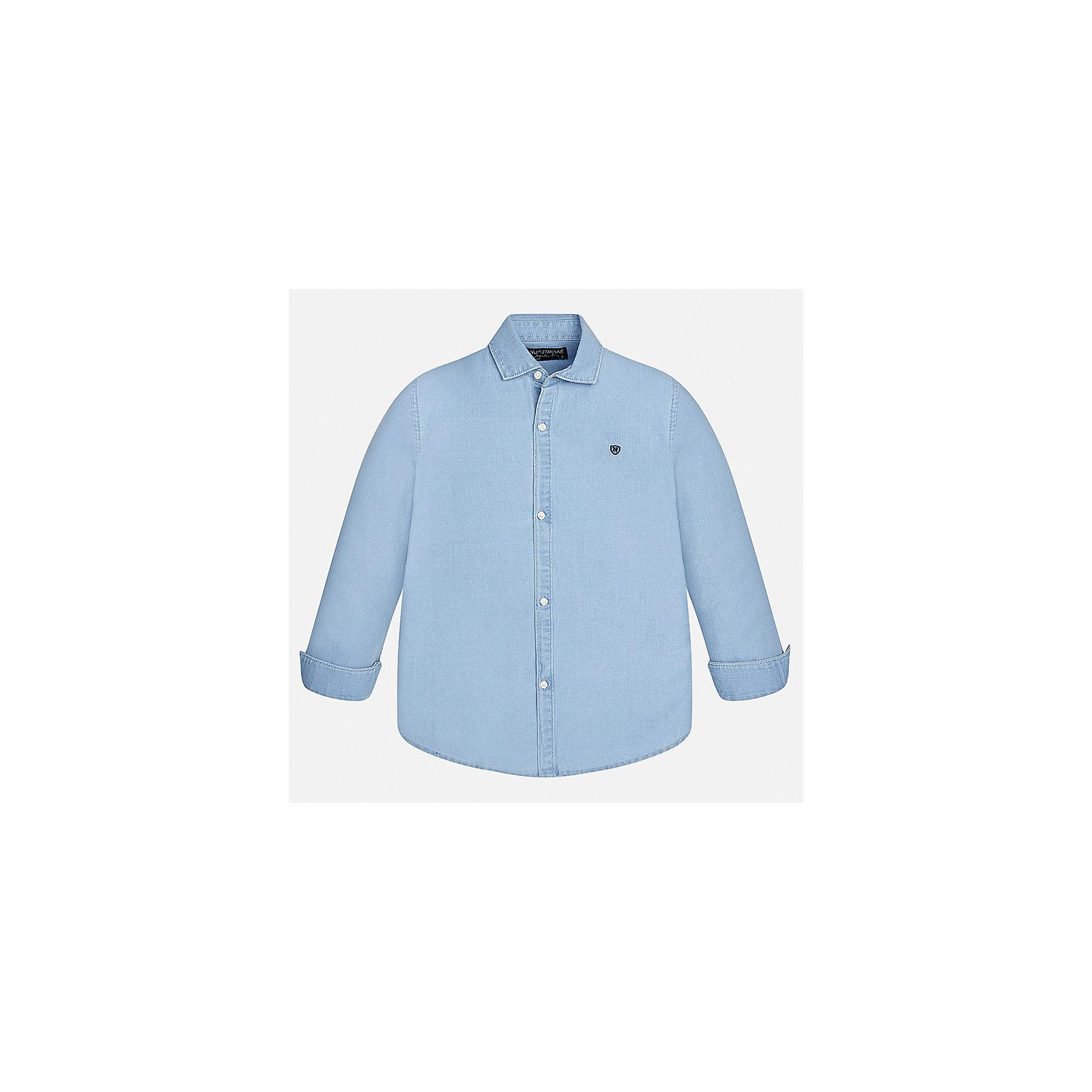 Рубашка для мальчика MayoralБлузки и рубашки<br>Характеристики товара:<br><br>• цвет: голубой<br>• состав ткани: 100% хлопок<br>• сезон: демисезон<br>• особенности модели: школьная<br>• застежка: пуговицы<br>• длинные рукава<br>• страна бренда: Испания<br>• страна изготовитель: Индия<br><br>Голубая рубашка с длинным рукавом для мальчика от Майорал поможет обеспечить ребенку комфорт. Детская рубашка отличается стильным и продуманным дизайном. В рубашке для мальчика от испанской компании Майорал ребенок будет выглядеть модно, а чувствовать себя - комфортно. <br><br>Рубашку для мальчика Mayoral (Майорал) можно купить в нашем интернет-магазине.<br><br>Ширина мм: 174<br>Глубина мм: 10<br>Высота мм: 169<br>Вес г: 157<br>Цвет: белый<br>Возраст от месяцев: 96<br>Возраст до месяцев: 108<br>Пол: Мужской<br>Возраст: Детский<br>Размер: 128/134,140,152,158,164,170<br>SKU: 6933563