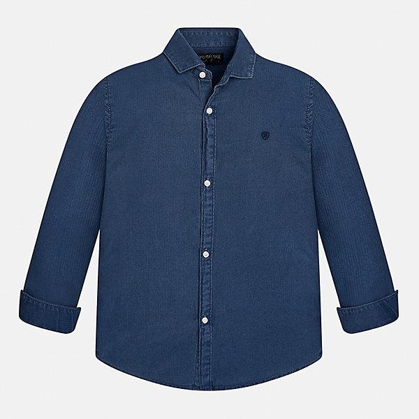 Рубашка Mayoral для мальчикаБлузки и рубашки<br>Характеристики товара:<br><br>• цвет: синий<br>• состав ткани: 100% хлопок<br>• сезон: демисезон<br>• особенности модели: школьная<br>• застежка: пуговицы<br>• длинные рукава<br>• страна бренда: Испания<br>• страна изготовитель: Индия<br><br>Синяя детская рубашка сделана из дышащего приятного на ощупь материала. Благодаря продуманному крою детской рубашки создаются комфортные условия для тела. Рубашка с длинным рукавом для мальчика отличается стильным продуманным дизайном.<br><br>Рубашку для мальчика Mayoral (Майорал) можно купить в нашем интернет-магазине.<br>Ширина мм: 174; Глубина мм: 10; Высота мм: 169; Вес г: 157; Цвет: синий; Возраст от месяцев: 96; Возраст до месяцев: 108; Пол: Мужской; Возраст: Детский; Размер: 128/134,170,164,158,152,140; SKU: 6933570;