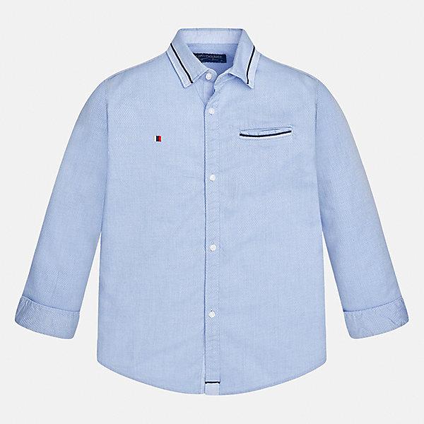 Рубашка Mayoral для мальчикаБлузки и рубашки<br>Характеристики товара:<br><br>• цвет: голубой<br>• состав ткани: 100% хлопок<br>• сезон: демисезон<br>• особенности модели: школьная<br>• застежка: пуговицы<br>• длинные рукава<br>• страна бренда: Испания<br>• страна изготовитель: Индия<br><br>Стильная рубашка с длинным рукавом для мальчика Mayoral удобно сидит по фигуре. Легкая детская рубашка сделана из натуральной хлопковой ткани. Отличный способ обеспечить ребенку комфорт и аккуратный внешний вид - надеть детскую рубашку от Mayoral. Детская рубашка с длинным рукавом сшита из приятного на ощупь материала. <br><br>Рубашку для мальчика Mayoral (Майорал) можно купить в нашем интернет-магазине.<br><br>Ширина мм: 174<br>Глубина мм: 10<br>Высота мм: 169<br>Вес г: 157<br>Цвет: голубой<br>Возраст от месяцев: 168<br>Возраст до месяцев: 180<br>Пол: Мужской<br>Возраст: Детский<br>Размер: 170,128/134,140,152,158,164<br>SKU: 6933577