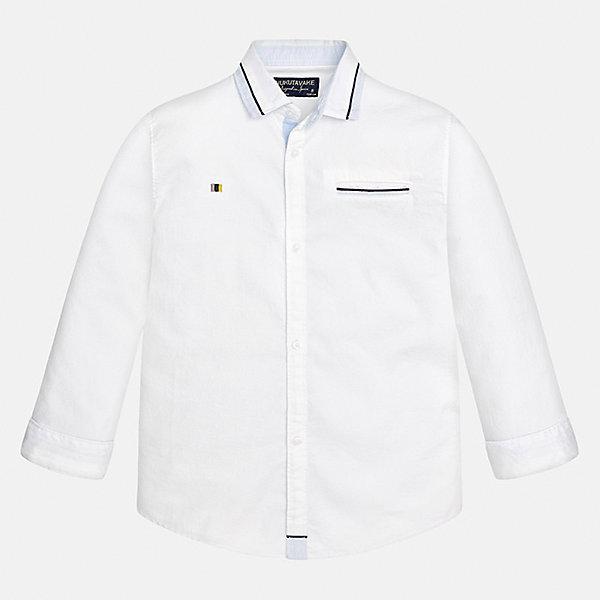 Рубашка Mayoral для мальчикаБлузки и рубашки<br>Характеристики товара:<br><br>• цвет: белый<br>• состав ткани: 100% хлопок<br>• сезон: демисезон<br>• особенности модели: школьная<br>• застежка: пуговицы<br>• длинные рукава<br>• страна бренда: Испания<br>• страна изготовитель: Индия<br><br>Белая рубашка с длинным рукавом для мальчика от Майорал поможет обеспечить ребенку комфорт. Детская рубашка отличается стильным и продуманным дизайном. В рубашке для мальчика от испанской компании Майорал ребенок будет выглядеть модно, а чувствовать себя - комфортно. <br><br>Рубашку для мальчика Mayoral (Майорал) можно купить в нашем интернет-магазине.<br>Ширина мм: 174; Глубина мм: 10; Высота мм: 169; Вес г: 157; Цвет: белый; Возраст от месяцев: 96; Возраст до месяцев: 108; Пол: Мужской; Возраст: Детский; Размер: 128/134,170,164,158,152,140; SKU: 6933584;