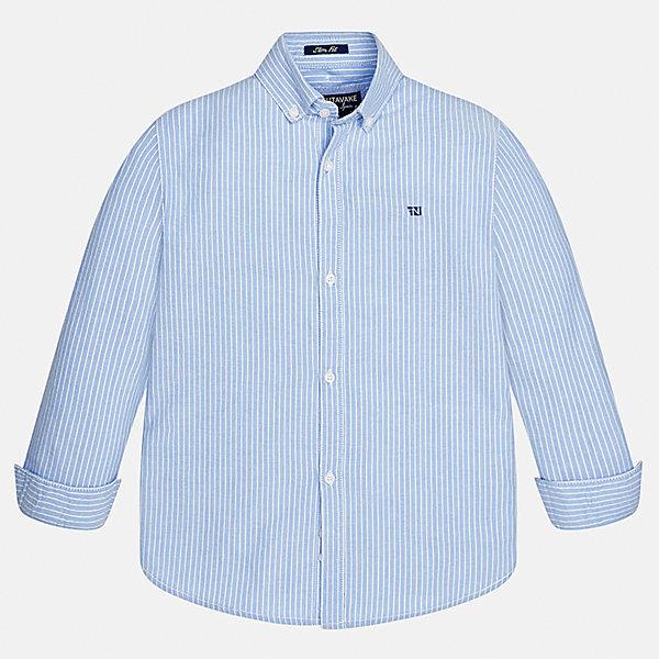 Рубашка Mayoral для мальчикаБлузки и рубашки<br>Характеристики товара:<br><br>• цвет: голубой<br>• состав ткани: 100% хлопок<br>• сезон: демисезон<br>• особенности модели: школьная<br>• застежка: пуговицы<br>• длинные рукава<br>• страна бренда: Испания<br>• страна изготовитель: Индия<br><br>Хлопковая детская рубашка сделана из дышащего приятного на ощупь материала. Благодаря продуманному крою детской рубашки создаются комфортные условия для тела. Рубашка с длинным рукавом для мальчика отличается стильным продуманным дизайном.<br><br>Рубашку для мальчика Mayoral (Майорал) можно купить в нашем интернет-магазине.<br>Ширина мм: 174; Глубина мм: 10; Высота мм: 169; Вес г: 157; Цвет: голубой; Возраст от месяцев: 156; Возраст до месяцев: 168; Пол: Мужской; Возраст: Детский; Размер: 164,128/134,170,158,152,140; SKU: 6933591;