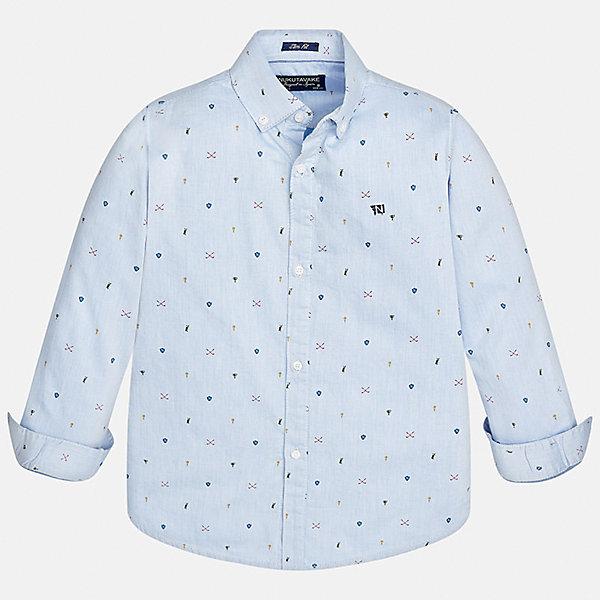 Рубашка Mayoral для мальчикаБлузки и рубашки<br>Характеристики товара:<br><br>• цвет: голубой<br>• состав ткани: 100% хлопок<br>• сезон: демисезон<br>• особенности модели: школьная<br>• застежка: пуговицы<br>• длинные рукава<br>• страна бренда: Испания<br>• страна изготовитель: Индия<br><br>Модная рубашка с длинным рукавом для мальчика от Майорал поможет обеспечить ребенку комфорт. Детская рубашка отличается стильным и продуманным дизайном. В рубашке для мальчика от испанской компании Майорал ребенок будет выглядеть модно, а чувствовать себя - комфортно. <br><br>Рубашку для мальчика Mayoral (Майорал) можно купить в нашем интернет-магазине.<br><br>Ширина мм: 174<br>Глубина мм: 10<br>Высота мм: 169<br>Вес г: 157<br>Цвет: голубой<br>Возраст от месяцев: 168<br>Возраст до месяцев: 180<br>Пол: Мужской<br>Возраст: Детский<br>Размер: 170,128/134,140,152,158,164<br>SKU: 6933605