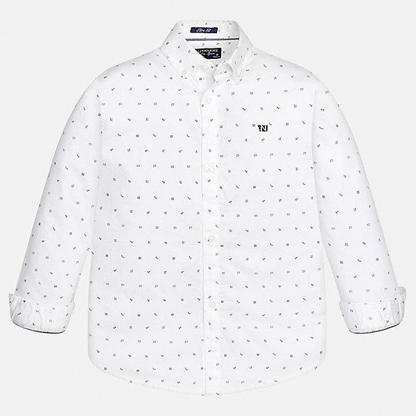 Рубашка для мальчика MayoralБлузки и рубашки<br>Характеристики товара:<br><br>• цвет: белый<br>• состав ткани: 100% хлопок<br>• сезон: демисезон<br>• особенности модели: школьная<br>• застежка: пуговицы<br>• длинные рукава<br>• страна бренда: Испания<br>• страна изготовитель: Индия<br><br>Белая детская рубашка сделана из дышащего приятного на ощупь материала. Благодаря продуманному крою детской рубашки создаются комфортные условия для тела. Рубашка с длинным рукавом для мальчика отличается стильным продуманным дизайном.<br><br>Рубашку для мальчика Mayoral (Майорал) можно купить в нашем интернет-магазине.<br>Ширина мм: 174; Глубина мм: 10; Высота мм: 169; Вес г: 157; Цвет: белый; Возраст от месяцев: 168; Возраст до месяцев: 180; Пол: Мужской; Возраст: Детский; Размер: 170,128/134,140,152,158,164; SKU: 6933612;