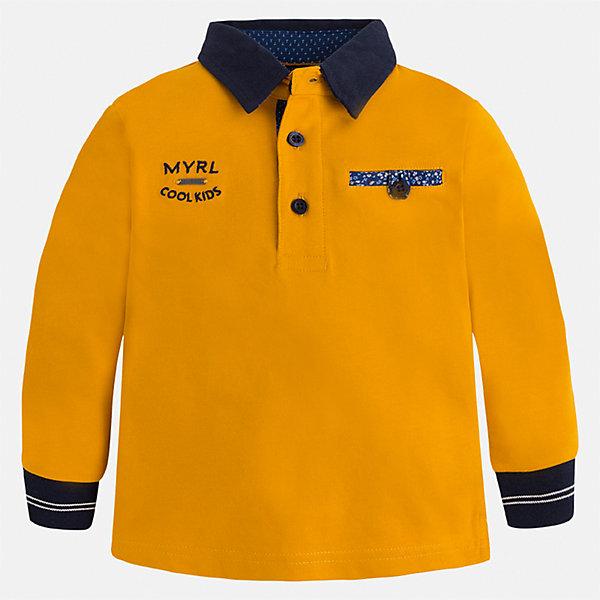 Футболка-поло с длинным рукавом Mayoral для мальчикаФутболки с длинным рукавом<br>Характеристики товара:<br><br>• цвет: оранжевый<br>• состав ткани: 100% хлопок<br>• сезон: демисезон<br>• особенности модели: отложной воротник<br>• застежка: пуговицы<br>• длинные рукава<br>• страна бренда: Испания<br>• страна изготовитель: Индия<br><br>Детская рубашка-поло с длинным рукавом сделана из дышащего приятного на ощупь материала. Благодаря продуманному крою детской футболки-поло создаются комфортные условия для тела. рубашка-поло с длинным рукавом для мальчика отличается стильным продуманным дизайном.<br><br>Рубашку-поло с длинным рукавом для мальчика Mayoral (Майорал) можно купить в нашем интернет-магазине.<br><br>Ширина мм: 230<br>Глубина мм: 40<br>Высота мм: 220<br>Вес г: 250<br>Цвет: оранжевый<br>Возраст от месяцев: 36<br>Возраст до месяцев: 48<br>Пол: Мужской<br>Возраст: Детский<br>Размер: 104,134,128,122,116,110<br>SKU: 6933923
