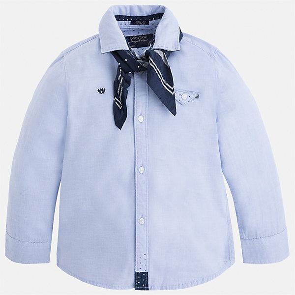 Рубашка Mayoral для мальчикаБлузки и рубашки<br>Характеристики товара:<br><br>• цвет: голубой<br>• состав ткани: 100% хлопок<br>• сезон: демисезон<br>• особенности модели: школьная<br>• застежка: пуговицы<br>• длинные рукава<br>• страна бренда: Испания<br>• страна изготовитель: Индия<br><br>Голубая детская рубашка сделана из дышащего приятного на ощупь материала. Благодаря продуманному крою детской рубашки создаются комфортные условия для тела. Рубашка с длинным рукавом для мальчика отличается стильным продуманным дизайном.<br><br>Рубашку для мальчика Mayoral (Майорал) можно купить в нашем интернет-магазине.<br><br>Ширина мм: 174<br>Глубина мм: 10<br>Высота мм: 169<br>Вес г: 157<br>Цвет: голубой<br>Возраст от месяцев: 18<br>Возраст до месяцев: 24<br>Пол: Мужской<br>Возраст: Детский<br>Размер: 92,98,104,110,116,122,128,134<br>SKU: 6934021