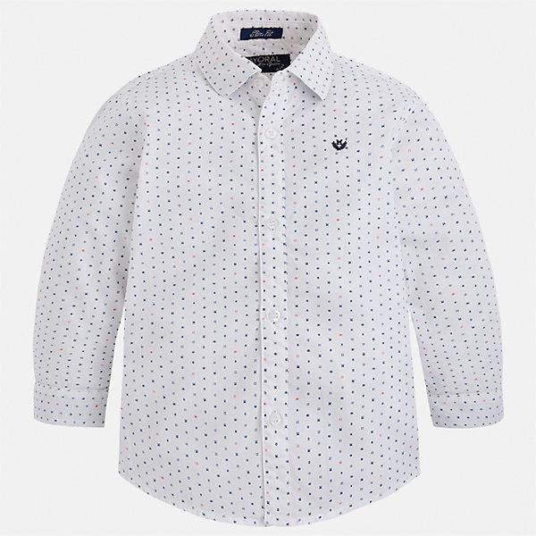 Рубашка Mayoral для мальчикаБлузки и рубашки<br>Характеристики товара:<br><br>• цвет: белый<br>• состав ткани: 100% хлопок<br>• сезон: демисезон<br>• особенности модели: школьная<br>• застежка: пуговицы<br>• длинные рукава<br>• страна бренда: Испания<br>• страна изготовитель: Индия<br><br>Легкая рубашка с длинным рукавом для мальчика Mayoral удобно сидит по фигуре. Стильная детская рубашка сделана из натуральной хлопковой ткани. Отличный способ обеспечить ребенку комфорт и аккуратный внешний вид - надеть детскую рубашку от Mayoral. Детская рубашка с длинным рукавом сшита из приятного на ощупь материала. <br><br>Рубашку для мальчика Mayoral (Майорал) можно купить в нашем интернет-магазине.<br>Ширина мм: 174; Глубина мм: 10; Высота мм: 169; Вес г: 157; Цвет: белый; Возраст от месяцев: 18; Возраст до месяцев: 24; Пол: Мужской; Возраст: Детский; Размер: 92,122,128,134,98,104,110,116; SKU: 6934030;