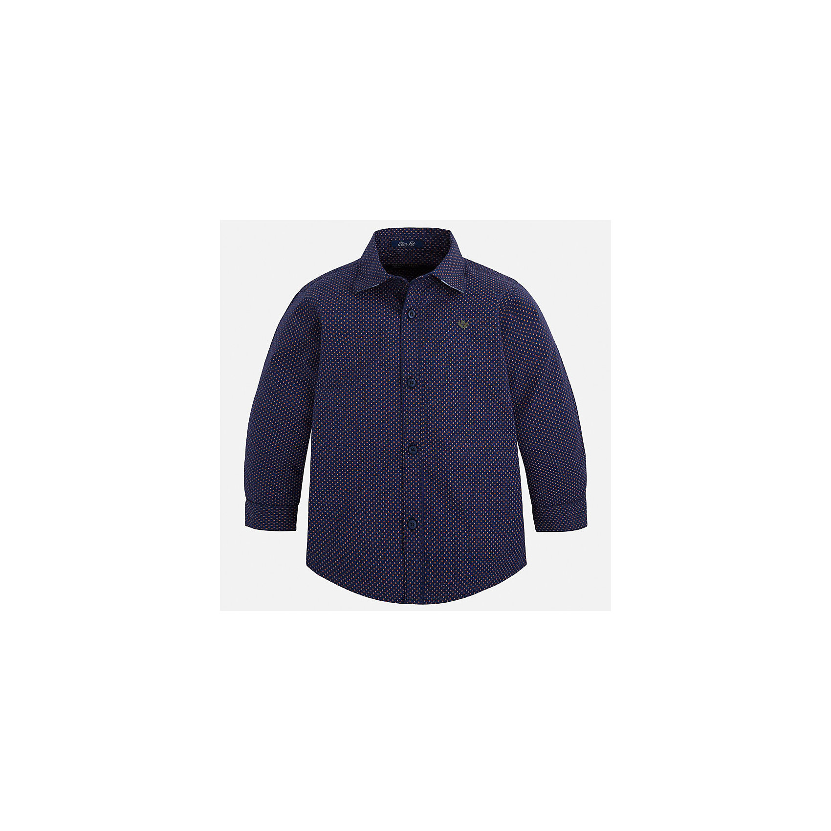 Рубашка Mayoral для мальчикаБлузки и рубашки<br>Характеристики товара:<br><br>• цвет: синий<br>• состав ткани: 100% хлопок<br>• сезон: демисезон<br>• особенности модели: школьная<br>• застежка: пуговицы<br>• длинные рукава<br>• страна бренда: Испания<br>• страна изготовитель: Индия<br><br>Классическая рубашка с длинным рукавом для мальчика от Майорал поможет обеспечить ребенку комфорт. Детская рубашка отличается стильным и продуманным дизайном. В рубашке для мальчика от испанской компании Майорал ребенок будет выглядеть модно, а чувствовать себя - комфортно. <br><br>Рубашку для мальчика Mayoral (Майорал) можно купить в нашем интернет-магазине.<br><br>Ширина мм: 174<br>Глубина мм: 10<br>Высота мм: 169<br>Вес г: 157<br>Цвет: синий<br>Возраст от месяцев: 96<br>Возраст до месяцев: 108<br>Пол: Мужской<br>Возраст: Детский<br>Размер: 134,128,122,116,110,104,98,92<br>SKU: 6934039