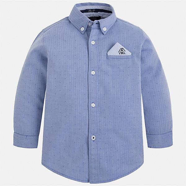 Рубашка Mayoral для мальчикаБлузки и рубашки<br>Характеристики товара:<br><br>• цвет: синий<br>• состав ткани: 100% хлопок<br>• сезон: демисезон<br>• особенности модели: школьная<br>• застежка: пуговицы<br>• длинные рукава<br>• страна бренда: Испания<br>• страна изготовитель: Индия<br><br>Стильная рубашка с длинным рукавом для мальчика Mayoral удобно сидит по фигуре. Стильная детская рубашка сделана из натуральной хлопковой ткани. Отличный способ обеспечить ребенку комфорт и аккуратный внешний вид - надеть детскую рубашку от Mayoral. Детская рубашка с длинным рукавом сшита из приятного на ощупь материала. <br><br>Рубашку для мальчика Mayoral (Майорал) можно купить в нашем интернет-магазине.<br>Ширина мм: 174; Глубина мм: 10; Высота мм: 169; Вес г: 157; Цвет: синий; Возраст от месяцев: 18; Возраст до месяцев: 24; Пол: Мужской; Возраст: Детский; Размер: 92,134,128,122,116,110,104,98; SKU: 6934057;