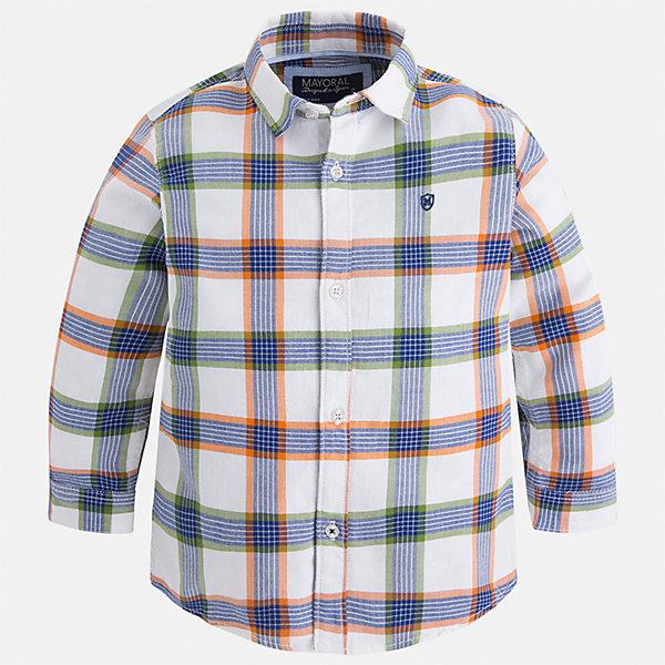 Рубашка Mayoral для мальчикаБлузки и рубашки<br>Характеристики товара:<br><br>• цвет: белый/синий/оранжевый<br>• состав ткани: 100% хлопок<br>• сезон: демисезон<br>• особенности модели: школьная<br>• застежка: пуговицы<br>• длинные рукава<br>• страна бренда: Испания<br>• страна изготовитель: Индия<br><br>Стильная клетчатая рубашка с длинным рукавом для мальчика Mayoral удобно сидит по фигуре. Стильная детская рубашка сделана из натуральной хлопковой ткани. Отличный способ обеспечить ребенку комфорт и аккуратный внешний вид - надеть детскую рубашку от Mayoral. Детская рубашка с длинным рукавом сшита из приятного на ощупь материала. <br><br>Рубашку для мальчика Mayoral (Майорал) можно купить в нашем интернет-магазине.<br><br>Ширина мм: 174<br>Глубина мм: 10<br>Высота мм: 169<br>Вес г: 157<br>Цвет: оранжевый/белый<br>Возраст от месяцев: 18<br>Возраст до месяцев: 24<br>Пол: Мужской<br>Возраст: Детский<br>Размер: 92,134,128,122,116,110,104,98<br>SKU: 6934084