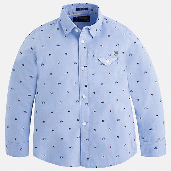 Рубашка Mayoral для мальчикаБлузки и рубашки<br>Характеристики товара:<br><br>• цвет: голубой<br>• состав ткани: 100% хлопок<br>• сезон: демисезон<br>• особенности модели: школьная<br>• застежка: пуговицы<br>• длинные рукава<br>• страна бренда: Испания<br>• страна изготовитель: Индия<br><br>Модная рубашка с длинным рукавом для мальчика от Майорал поможет обеспечить ребенку комфорт. Детская рубашка отличается стильным и продуманным дизайном. В рубашке для мальчика от испанской компании Майорал ребенок будет выглядеть модно, а чувствовать себя - комфортно. <br><br>Рубашку для мальчика Mayoral (Майорал) можно купить в нашем интернет-магазине.<br><br>Ширина мм: 174<br>Глубина мм: 10<br>Высота мм: 169<br>Вес г: 157<br>Цвет: голубой<br>Возраст от месяцев: 18<br>Возраст до месяцев: 24<br>Пол: Мужской<br>Возраст: Детский<br>Размер: 92,134,128,122,116,110,104,98<br>SKU: 6934093