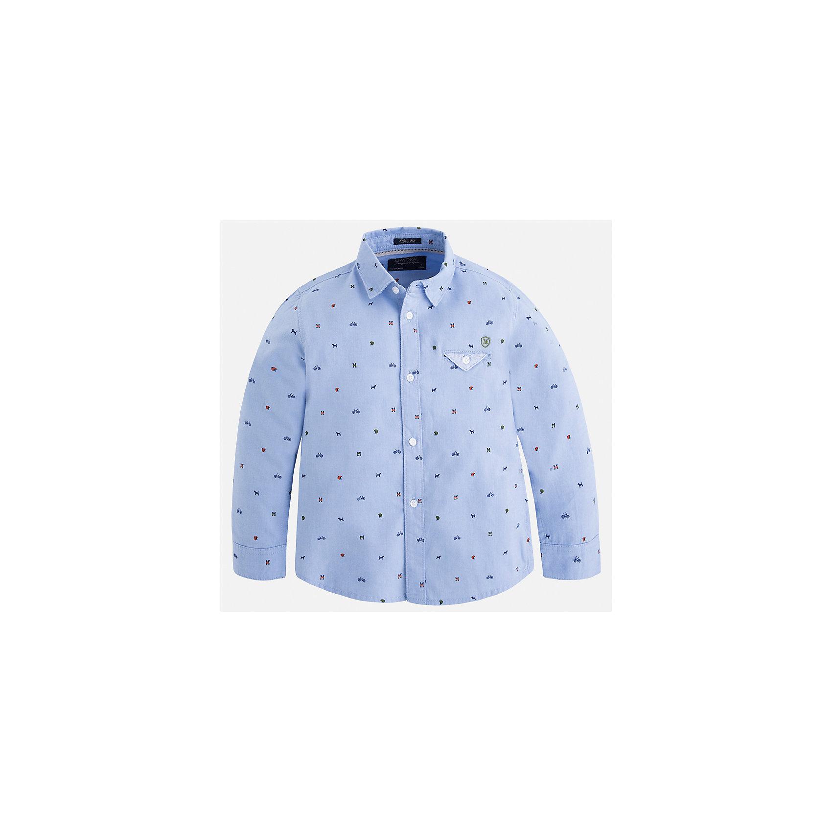Рубашка Mayoral для мальчикаБлузки и рубашки<br>Характеристики товара:<br><br>• цвет: голубой<br>• состав ткани: 100% хлопок<br>• сезон: демисезон<br>• особенности модели: школьная<br>• застежка: пуговицы<br>• длинные рукава<br>• страна бренда: Испания<br>• страна изготовитель: Индия<br><br>Модная рубашка с длинным рукавом для мальчика от Майорал поможет обеспечить ребенку комфорт. Детская рубашка отличается стильным и продуманным дизайном. В рубашке для мальчика от испанской компании Майорал ребенок будет выглядеть модно, а чувствовать себя - комфортно. <br><br>Рубашку для мальчика Mayoral (Майорал) можно купить в нашем интернет-магазине.<br><br>Ширина мм: 174<br>Глубина мм: 10<br>Высота мм: 169<br>Вес г: 157<br>Цвет: синий<br>Возраст от месяцев: 96<br>Возраст до месяцев: 108<br>Пол: Мужской<br>Возраст: Детский<br>Размер: 134,92,98,104,110,116,122,128<br>SKU: 6934093
