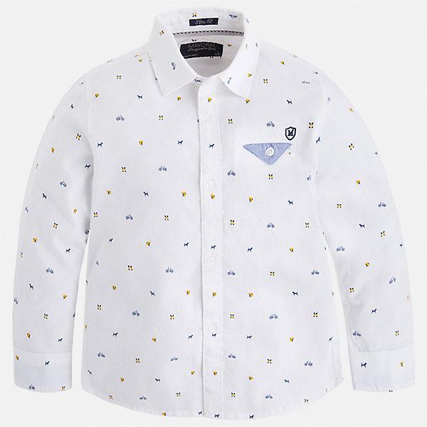 Рубашка Mayoral для мальчикаБлузки и рубашки<br>Характеристики товара:<br><br>• цвет: белый<br>• состав ткани: 100% хлопок<br>• сезон: демисезон<br>• особенности модели: школьная<br>• застежка: пуговицы<br>• длинные рукава<br>• страна бренда: Испания<br>• страна изготовитель: Индия<br><br>Эта детская рубашка сделана из дышащего приятного на ощупь материала. Благодаря продуманному крою детской рубашки создаются комфортные условия для тела. Рубашка с длинным рукавом для мальчика отличается стильным продуманным дизайном.<br><br>Рубашку для мальчика Mayoral (Майорал) можно купить в нашем интернет-магазине.<br>Ширина мм: 174; Глубина мм: 10; Высота мм: 169; Вес г: 157; Цвет: белый; Возраст от месяцев: 96; Возраст до месяцев: 108; Пол: Мужской; Возраст: Детский; Размер: 134,92,98,104,110,116,122,128; SKU: 6934102;