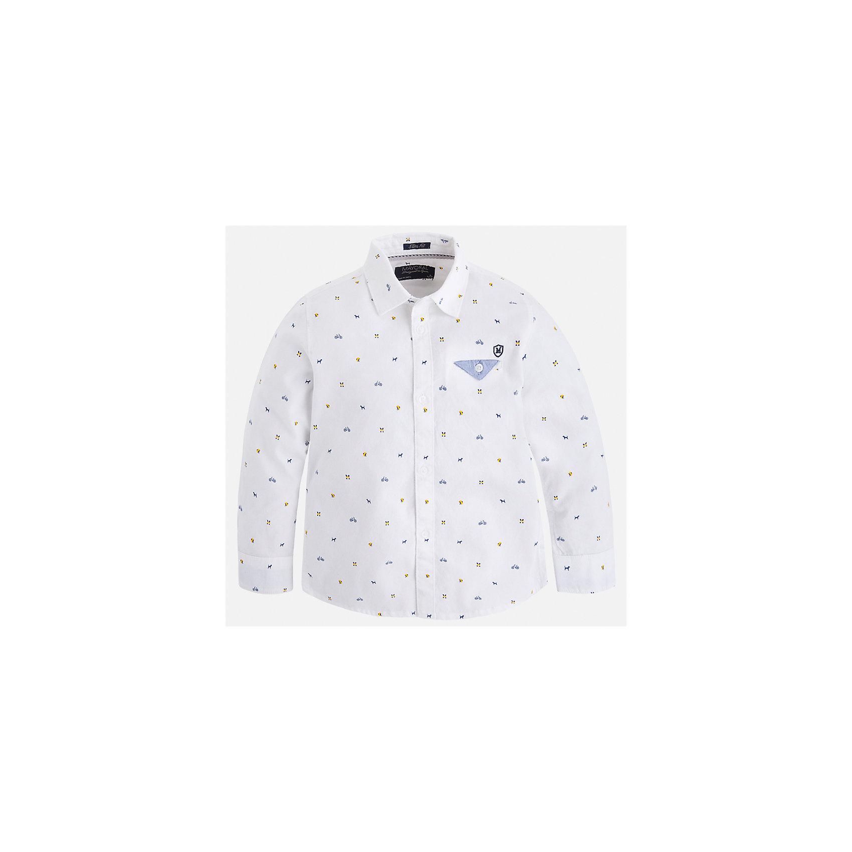Рубашка Mayoral для мальчикаБлузки и рубашки<br>Характеристики товара:<br><br>• цвет: белый<br>• состав ткани: 100% хлопок<br>• сезон: демисезон<br>• особенности модели: школьная<br>• застежка: пуговицы<br>• длинные рукава<br>• страна бренда: Испания<br>• страна изготовитель: Индия<br><br>Эта детская рубашка сделана из дышащего приятного на ощупь материала. Благодаря продуманному крою детской рубашки создаются комфортные условия для тела. Рубашка с длинным рукавом для мальчика отличается стильным продуманным дизайном.<br><br>Рубашку для мальчика Mayoral (Майорал) можно купить в нашем интернет-магазине.<br><br>Ширина мм: 174<br>Глубина мм: 10<br>Высота мм: 169<br>Вес г: 157<br>Цвет: белый<br>Возраст от месяцев: 96<br>Возраст до месяцев: 108<br>Пол: Мужской<br>Возраст: Детский<br>Размер: 134,92,98,104,110,116,122,128<br>SKU: 6934102