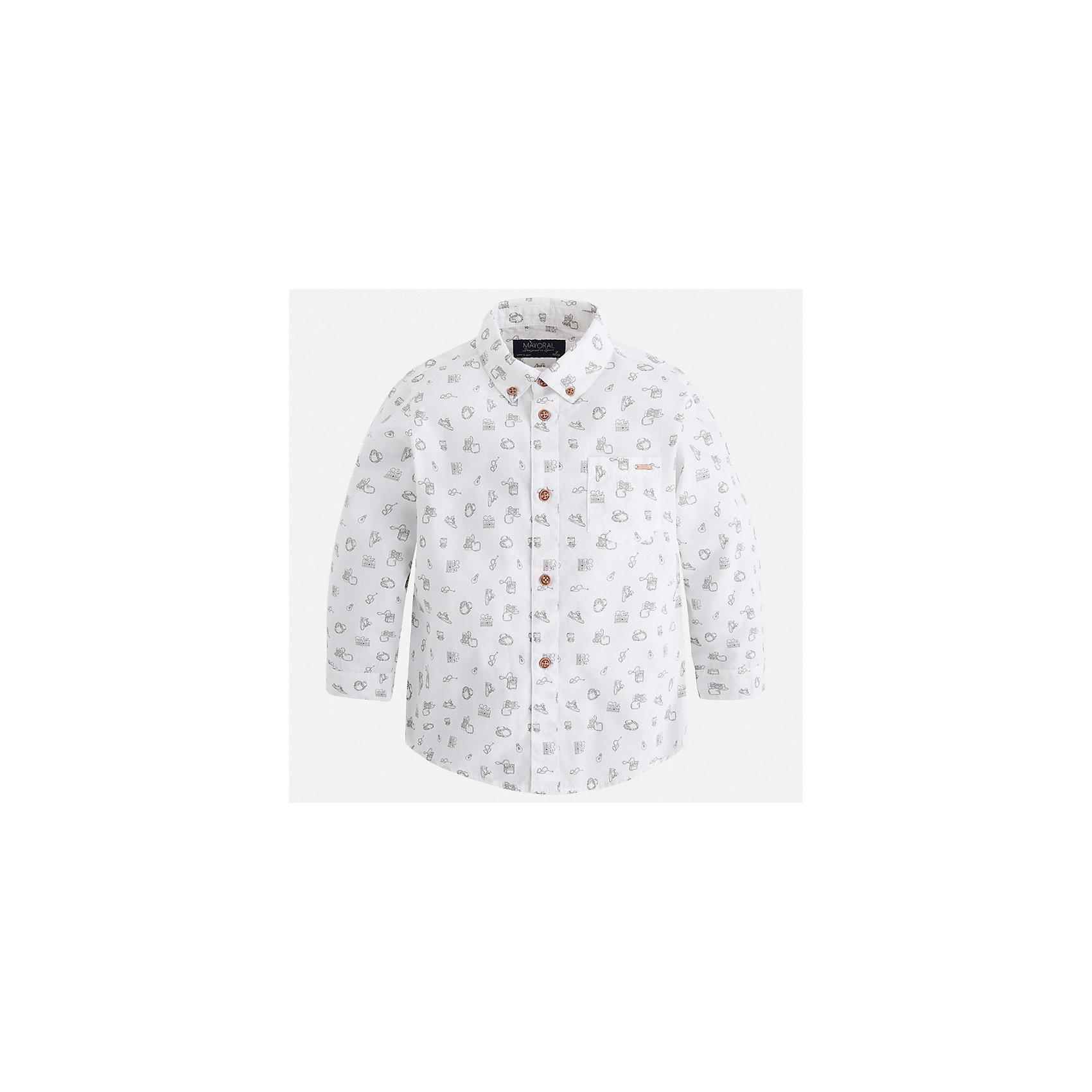 Рубашка Mayoral для мальчикаБлузки и рубашки<br>Характеристики товара:<br><br>• цвет: белый<br>• состав ткани: 100% хлопок<br>• сезон: демисезон<br>• особенности модели: школьная<br>• застежка: пуговицы<br>• длинные рукава<br>• страна бренда: Испания<br>• страна изготовитель: Индия<br><br>Оригинальная рубашка с длинным рукавом для мальчика Mayoral удобно сидит по фигуре. Стильная детская рубашка сделана из натуральной хлопковой ткани. Отличный способ обеспечить ребенку комфорт и аккуратный внешний вид - надеть детскую рубашку от Mayoral. Детская рубашка с длинным рукавом сшита из приятного на ощупь материала. <br><br>Рубашку для мальчика Mayoral (Майорал) можно купить в нашем интернет-магазине.<br><br>Ширина мм: 174<br>Глубина мм: 10<br>Высота мм: 169<br>Вес г: 157<br>Цвет: белый<br>Возраст от месяцев: 96<br>Возраст до месяцев: 108<br>Пол: Мужской<br>Возраст: Детский<br>Размер: 134,92,98,104,110,116,122,128<br>SKU: 6934111