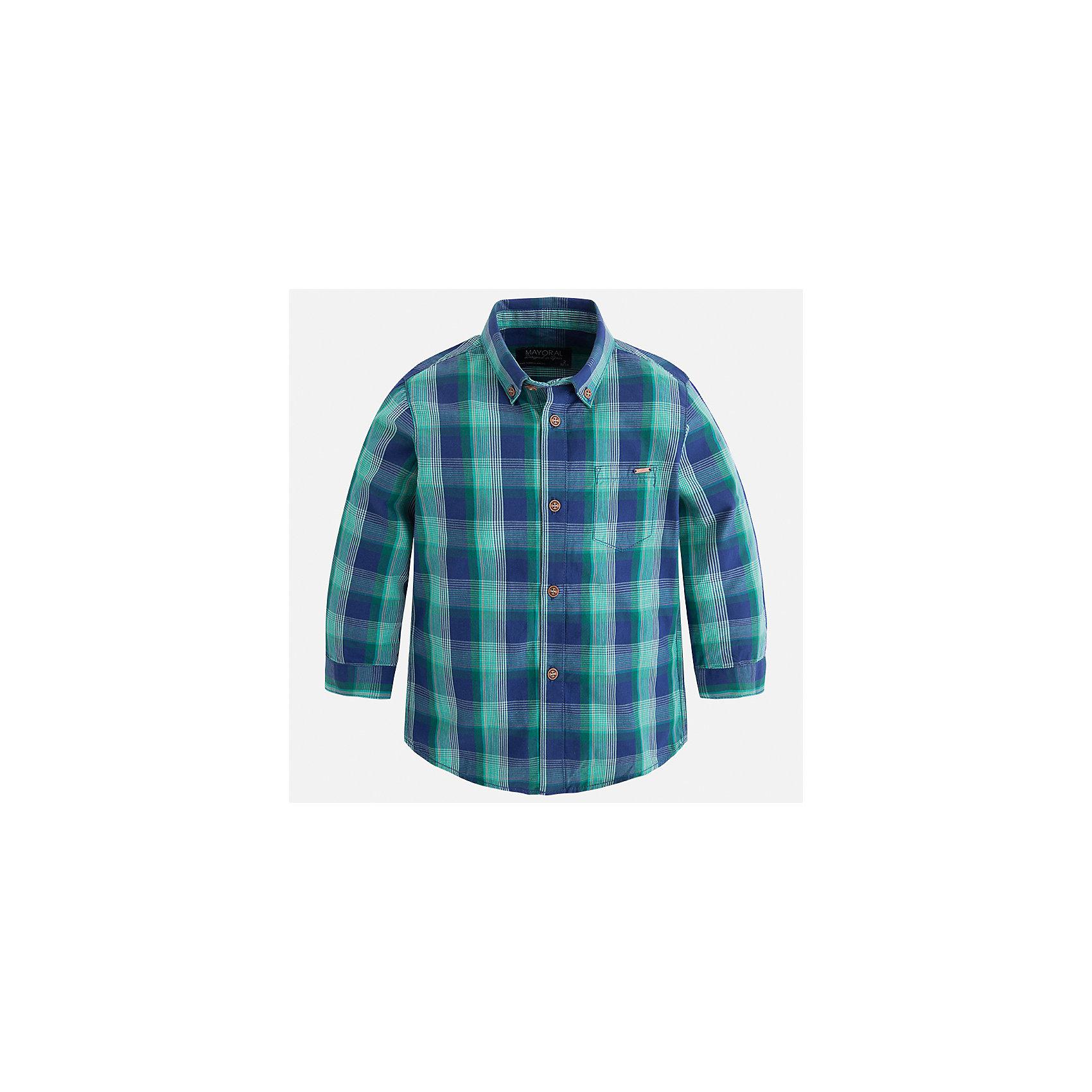 Рубашка Mayoral для мальчикаБлузки и рубашки<br>Характеристики товара:<br><br>• цвет: зеленый<br>• состав ткани: 100% хлопок<br>• сезон: демисезон<br>• особенности модели: школьная<br>• застежка: пуговицы<br>• длинные рукава<br>• страна бренда: Испания<br>• страна изготовитель: Индия<br><br>Стильная детская рубашка сделана из дышащего приятного на ощупь материала. Благодаря продуманному крою детской рубашки создаются комфортные условия для тела. Рубашка с длинным рукавом для мальчика отличается стильным продуманным дизайном.<br><br>Рубашку для мальчика Mayoral (Майорал) можно купить в нашем интернет-магазине.<br><br>Ширина мм: 174<br>Глубина мм: 10<br>Высота мм: 169<br>Вес г: 157<br>Цвет: зеленый<br>Возраст от месяцев: 36<br>Возраст до месяцев: 48<br>Пол: Мужской<br>Возраст: Детский<br>Размер: 122,128,134,92,98,104,110,116<br>SKU: 6934129
