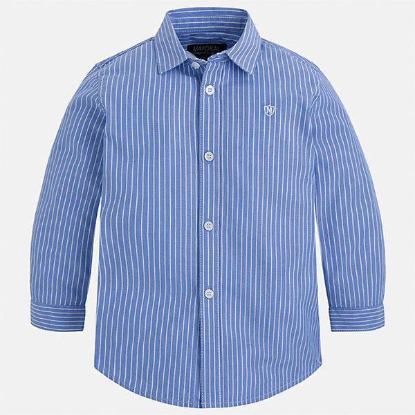 Рубашка Mayoral для мальчикаБлузки и рубашки<br>Характеристики товара:<br><br>• цвет: голубой<br>• состав ткани: 100% хлопок<br>• сезон: демисезон<br>• особенности модели: школьная<br>• застежка: пуговицы<br>• длинные рукава<br>• страна бренда: Испания<br>• страна изготовитель: Индия<br><br>Хлопковая детская рубашка сделана из дышащего приятного на ощупь материала. Благодаря продуманному крою детской рубашки создаются комфортные условия для тела. Рубашка с длинным рукавом для мальчика отличается стильным продуманным дизайном.<br><br>Рубашку для мальчика Mayoral (Майорал) можно купить в нашем интернет-магазине.<br>Ширина мм: 174; Глубина мм: 10; Высота мм: 169; Вес г: 157; Цвет: голубой; Возраст от месяцев: 24; Возраст до месяцев: 36; Пол: Мужской; Возраст: Детский; Размер: 98,134,128,122,116,110,104; SKU: 6934156;
