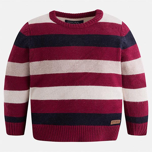 Свитер для мальчика MayoralСвитера и кардиганы<br>Характеристики товара:<br><br>• цвет: бордовый/белый/черный<br>• состав ткани: 43% акрил, 29% вискоза, 19% полиамид, 9% ангора<br>• сезон: демисезон<br>• особенности модели: вязаные полосы<br>• манжеты<br>• длинные рукава<br>• страна бренда: Испания<br>• страна изготовитель: Индия<br><br>Модный свитер в полоску для мальчика от Майорал поможет обеспечить ребенку комфорт и тепло. Детский свитер отличается модным и продуманным дизайном. В свитере для мальчика от испанской компании Майорал ребенок будет выглядеть модно, а чувствовать себя - комфортно. <br><br>Свитер для мальчика Mayoral (Майорал) можно купить в нашем интернет-магазине.<br><br>Ширина мм: 190<br>Глубина мм: 74<br>Высота мм: 229<br>Вес г: 236<br>Цвет: белый/бордовый<br>Возраст от месяцев: 48<br>Возраст до месяцев: 60<br>Пол: Мужской<br>Возраст: Детский<br>Размер: 110,134,128,122,116,104<br>SKU: 6934268