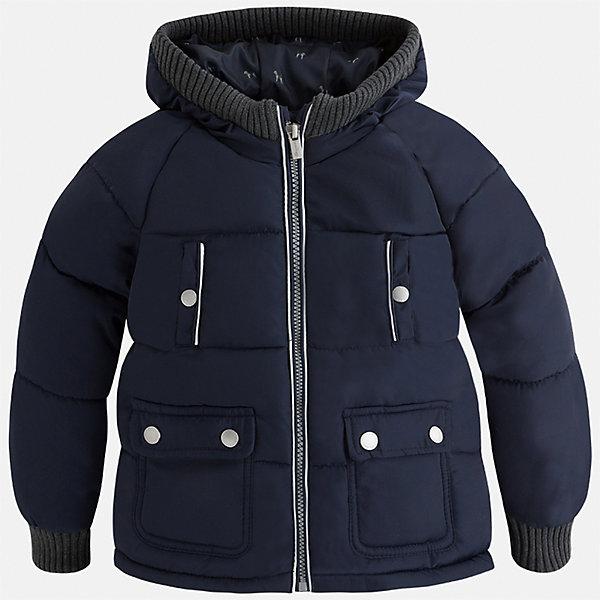 Куртка Mayoral для мальчикаВерхняя одежда<br>Характеристики товара:<br><br>• цвет: синий<br>• состав ткани: 65% полиамид, 35% полиэстер<br>• подкладка: 100% полиэстер<br>• утеплитель: 100% полиэстер<br>• сезон: демисезон<br>• температурный режим: от -10 до +10<br>• особенности куртки: дутая, с капюшоном<br>• капюшон: несъемный<br>• застежка: молния<br>• страна бренда: Испания<br>• страна изготовитель: Индия<br><br>Эта демисезонная куртка для мальчика от Майорал поможет обеспечить ребенку комфорт и тепло. Детская куртка с капюшоном отличается модным и продуманным дизайном. В куртке для мальчика от испанской компании Майорал ребенок будет выглядеть модно, а чувствовать себя - комфортно. <br><br>Куртку для мальчика Mayoral (Майорал) можно купить в нашем интернет-магазине.<br>Ширина мм: 356; Глубина мм: 10; Высота мм: 245; Вес г: 519; Цвет: синий; Возраст от месяцев: 24; Возраст до месяцев: 36; Пол: Мужской; Возраст: Детский; Размер: 98,110,116,122,128,134,92,104; SKU: 6934598;