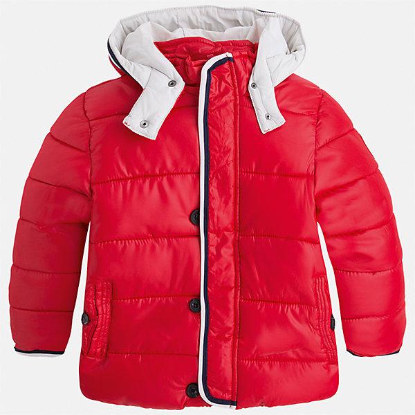 Куртка для мальчика MayoralВерхняя одежда<br>Характеристики товара:<br><br>• цвет: красный<br>• состав ткани: 100% полиэстер<br>• подкладка: 100% полиэстер<br>• утеплитель: 100% полиэстер<br>• сезон: демисезон<br>• температурный режим: от -10 до +10<br>• особенности куртки: дутая, с капюшоном<br>• капюшон: несъемный<br>• застежка: молния<br>• страна бренда: Испания<br>• страна изготовитель: Индия<br><br>Эта демисезонная детская куртка подойдет для переменной погоды. Отличный способ обеспечить ребенку тепло и комфорт - надеть теплую куртку от Mayoral. Детская куртка сшита из приятного на ощупь материала. Куртка для мальчика Mayoral дополнена теплой подкладкой.<br><br>Куртку для мальчика Mayoral (Майорал) можно купить в нашем интернет-магазине.<br>Ширина мм: 356; Глубина мм: 10; Высота мм: 245; Вес г: 519; Цвет: красный; Возраст от месяцев: 36; Возраст до месяцев: 48; Пол: Мужской; Возраст: Детский; Размер: 104,110,116,122,128,134,92,98; SKU: 6934634;