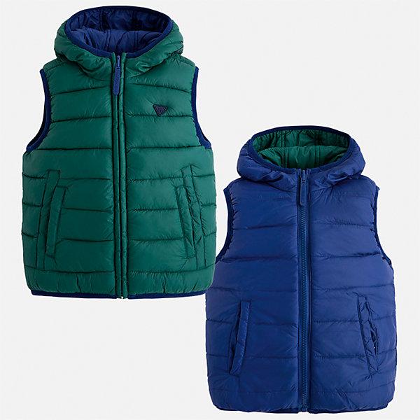 Жилет для мальчика MayoralВерхняя одежда<br>Характеристики товара:<br><br>• цвет: синий/зеленый<br>• состав ткани: 100% полиамид<br>• подкладка: 100% полиамид<br>• утеплитель: 100% полиэстер<br>• сезон: демисезон<br>• особенности модели: двусторонний, с капюшоном<br>• капюшон: несъемный<br>• застежка: молния<br>• страна бренда: Испания<br>• страна изготовитель: Индия<br><br>Теплый жилет для мальчика от Майорал поможет обеспечить ребенку комфорт и тепло. Детский жилет отличается модным и продуманным дизайном. В двустороннем жилете для мальчика от испанской компании Майорал ребенок будет выглядеть модно, а чувствовать себя - комфортно. <br><br>Жилет для мальчика Mayoral (Майорал) можно купить в нашем интернет-магазине.<br><br>Ширина мм: 190<br>Глубина мм: 74<br>Высота мм: 229<br>Вес г: 236<br>Цвет: синий/зеленый<br>Возраст от месяцев: 18<br>Возраст до месяцев: 24<br>Пол: Мужской<br>Возраст: Детский<br>Размер: 92,134,128,122,116,110,104,98<br>SKU: 6934643