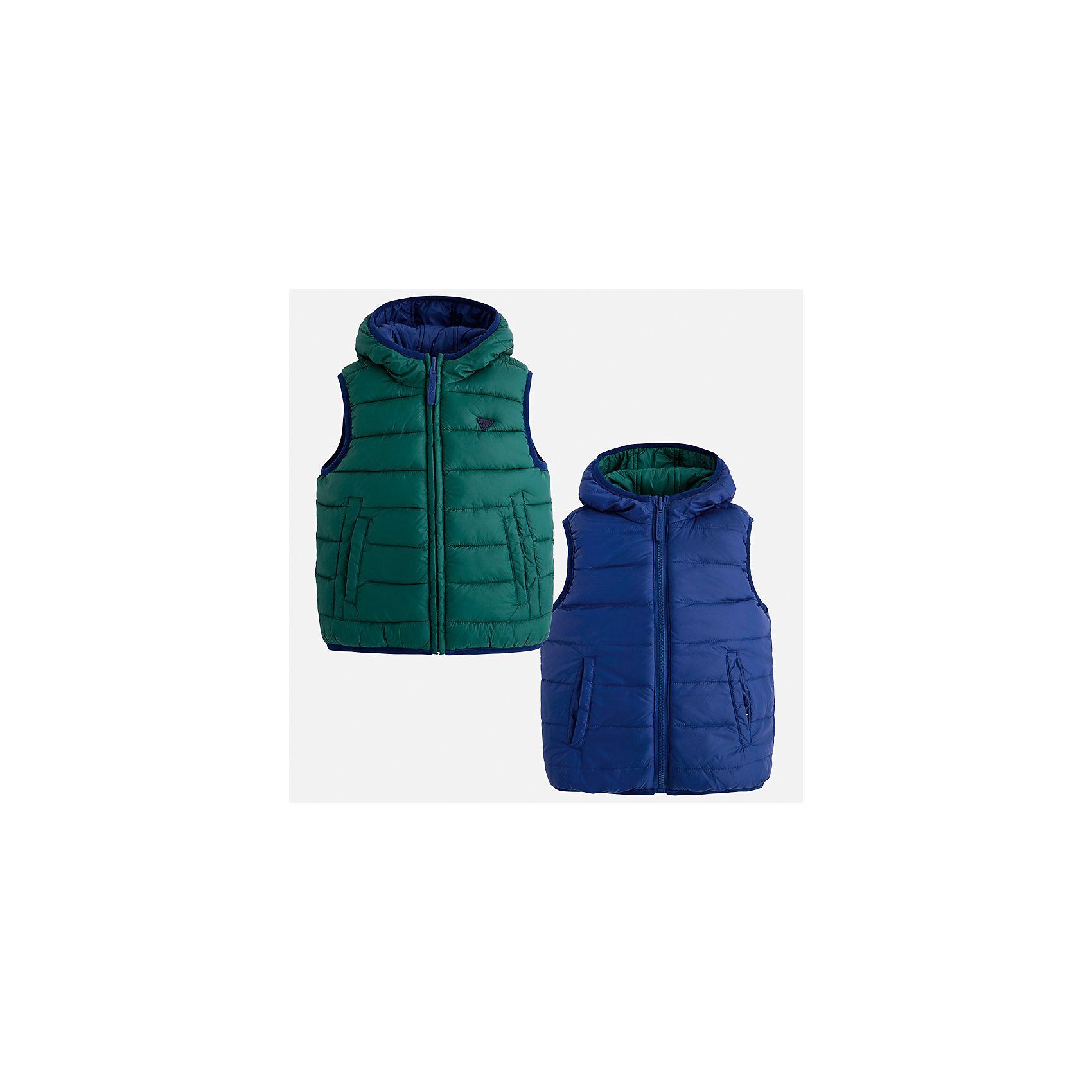 Жилет для мальчика MayoralВерхняя одежда<br>Характеристики товара:<br><br>• цвет: зеленый<br>• состав ткани: 100% полиамид<br>• подкладка: 100% полиамид<br>• утеплитель: 100% полиэстер<br>• сезон: демисезон<br>• особенности модели: двусторонний, с капюшоном<br>• капюшон: несъемный<br>• застежка: молния<br>• страна бренда: Испания<br>• страна изготовитель: Индия<br><br>Теплый жилет для мальчика от Майорал поможет обеспечить ребенку комфорт и тепло. Детский жилет отличается модным и продуманным дизайном. В двустороннем жилете для мальчика от испанской компании Майорал ребенок будет выглядеть модно, а чувствовать себя - комфортно. <br><br>Жилет для мальчика Mayoral (Майорал) можно купить в нашем интернет-магазине.<br><br>Ширина мм: 190<br>Глубина мм: 74<br>Высота мм: 229<br>Вес г: 236<br>Цвет: зеленый<br>Возраст от месяцев: 96<br>Возраст до месяцев: 108<br>Пол: Мужской<br>Возраст: Детский<br>Размер: 134,92,98,104,110,116,122,128<br>SKU: 6934643