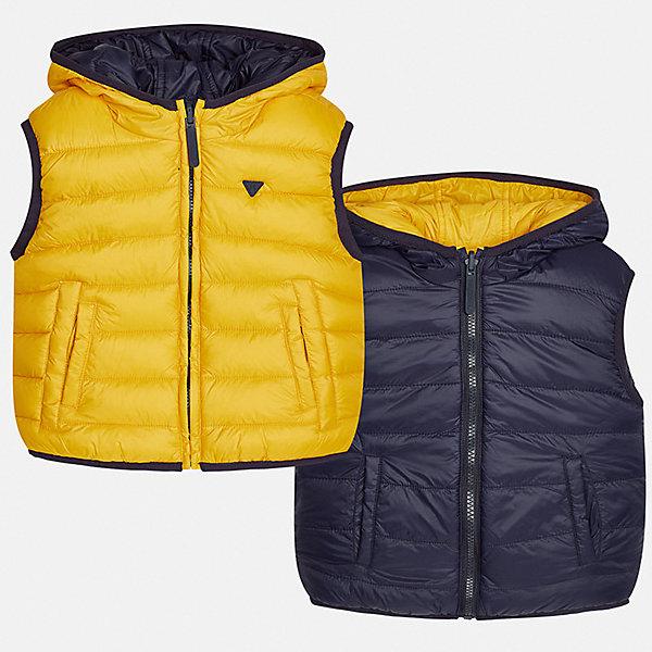 Жилет для мальчика MayoralЖилеты<br>Характеристики товара:<br><br>• цвет: оранжевый/синий<br>• состав ткани: 100% полиамид<br>• подкладка: 100% полиамид<br>• утеплитель: 100% полиэстер<br>• сезон: демисезон<br>• особенности модели: двусторонний, с капюшоном<br>• капюшон: несъемный<br>• застежка: молния<br>• страна бренда: Испания<br>• страна изготовитель: Индия<br><br>Двусторонний детский жилет сделан из качественного материала. Благодаря продуманному крою детского жилета создаются комфортные условия для тела. Жилет для мальчика отличается стильный дизайном.<br><br>Жилет для мальчика Mayoral (Майорал) можно купить в нашем интернет-магазине.<br><br>Ширина мм: 190<br>Глубина мм: 74<br>Высота мм: 229<br>Вес г: 236<br>Цвет: оранжевый<br>Возраст от месяцев: 36<br>Возраст до месяцев: 48<br>Пол: Мужской<br>Возраст: Детский<br>Размер: 104,98,110,116,122,128,134,92<br>SKU: 6934652