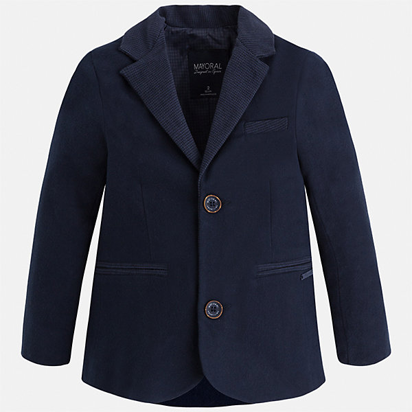 Пиджак для мальчика MayoralКостюмы и пиджаки<br>Характеристики товара:<br><br>• цвет: синий<br>• состав ткани: 98% хлопок, 2% эластан<br>• подкладка: 100% полиэстер<br>• сезон: демисезон<br>• особенности модели: школьная<br>• длинные рукава<br>• застежка: пуговицы<br>• страна бренда: Испания<br>• страна изготовитель: Индия<br><br>Классический детский пиджак для мальчика отлично подойдет для похода в школу или для торжественных случаев. Хороший способ обеспечить ребенку аккуратный внешний вид и комфорт - надеть детский пиджак от Mayoral. Детский пиджак сшит из приятного на ощупь материала. Пиджак для мальчика Mayoral дополнен подкладкой.<br><br>Пиджак для мальчика Mayoral (Майорал) можно купить в нашем интернет-магазине.<br><br>Ширина мм: 190<br>Глубина мм: 74<br>Высота мм: 229<br>Вес г: 236<br>Цвет: синий<br>Возраст от месяцев: 18<br>Возраст до месяцев: 24<br>Пол: Мужской<br>Возраст: Детский<br>Размер: 92,134,128,122,116,110,104,98<br>SKU: 6934661