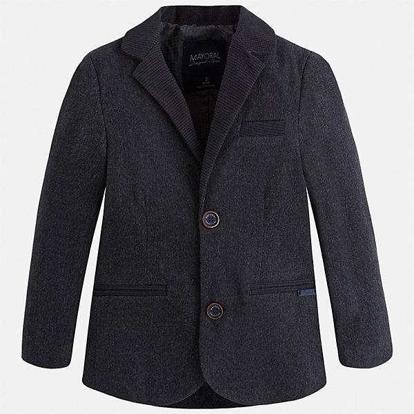 Пиджак для мальчика MayoralКостюмы и пиджаки<br>Характеристики товара:<br><br>• цвет: серый<br>• состав ткани: 98% хлопок, 2% эластан<br>• подкладка: 100% полиэстер<br>• сезон: демисезон<br>• особенности модели: школьная<br>• длинные рукава<br>• застежка: пуговицы<br>• страна бренда: Испания<br>• страна изготовитель: Индия<br><br>Этот детский пиджак сшит из приятного на материала, преимущественно имеющего в составе натуральный хлопок. Пиджак для мальчика Mayoral дополнен подкладкой. Пиджак для ребенка отличается классическим силуэтом. Детский пиджак обеспечит ребенку аккуратный внешний вид. <br><br>Пиджак для мальчика Mayoral (Майорал) можно купить в нашем интернет-магазине.<br><br>Ширина мм: 190<br>Глубина мм: 74<br>Высота мм: 229<br>Вес г: 236<br>Цвет: серый<br>Возраст от месяцев: 18<br>Возраст до месяцев: 24<br>Пол: Мужской<br>Возраст: Детский<br>Размер: 92,134,128,122,116,110,104,98<br>SKU: 6934670
