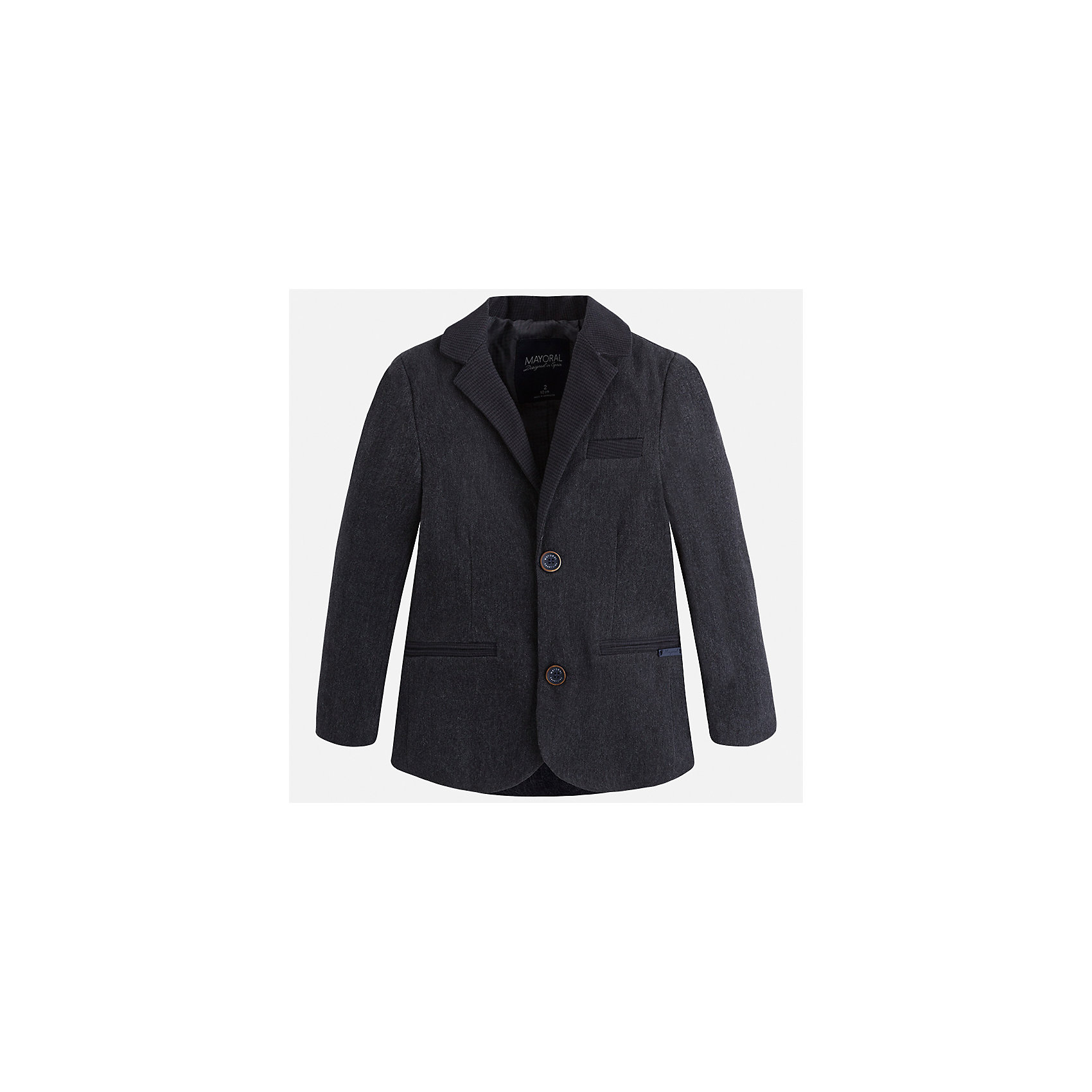 Пиджак для мальчика MayoralКостюмы и пиджаки<br>Характеристики товара:<br><br>• цвет: серый<br>• состав ткани: 98% хлопок, 2% эластан<br>• подкладка: 100% полиэстер<br>• сезон: демисезон<br>• особенности модели: школьная<br>• длинные рукава<br>• застежка: пуговицы<br>• страна бренда: Испания<br>• страна изготовитель: Индия<br><br>Этот детский пиджак сшит из приятного на материала, преимущественно имеющего в составе натуральный хлопок. Пиджак для мальчика Mayoral дополнен подкладкой. Пиджак для ребенка отличается классическим силуэтом. Детский пиджак обеспечит ребенку аккуратный внешний вид. <br><br>Пиджак для мальчика Mayoral (Майорал) можно купить в нашем интернет-магазине.<br><br>Ширина мм: 190<br>Глубина мм: 74<br>Высота мм: 229<br>Вес г: 236<br>Цвет: серый<br>Возраст от месяцев: 96<br>Возраст до месяцев: 108<br>Пол: Мужской<br>Возраст: Детский<br>Размер: 134,92,98,104,110,116,122,128<br>SKU: 6934670
