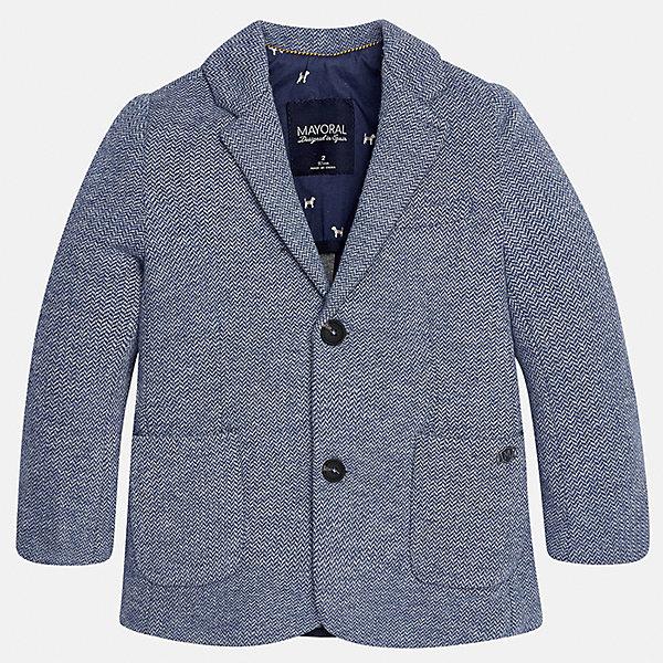 Пиджак для мальчика MayoralКостюмы и пиджаки<br>Характеристики товара:<br><br>• цвет: серый<br>• состав ткани: 53% хлопок, 35% полиэстер, 12% полиамид<br>• подкладка: 100% полиэстер<br>• сезон: демисезон<br>• особенности модели: школьная<br>• длинные рукава<br>• застежка: пуговицы<br>• страна бренда: Испания<br>• страна изготовитель: Индия<br><br>Черный классический детский пиджак для мальчика отлично подойдет для похода в школу или для торжественных случаев. Хороший способ обеспечить ребенку аккуратный внешний вид и комфорт - надеть детский пиджак от Mayoral. Детский пиджак сшит из приятного на ощупь материала. <br><br>Пиджак для мальчика Mayoral (Майорал) можно купить в нашем интернет-магазине.<br><br>Ширина мм: 190<br>Глубина мм: 74<br>Высота мм: 229<br>Вес г: 236<br>Цвет: серый<br>Возраст от месяцев: 36<br>Возраст до месяцев: 48<br>Пол: Мужской<br>Возраст: Детский<br>Размер: 104,98,92,134,128,122,116,110<br>SKU: 6934697
