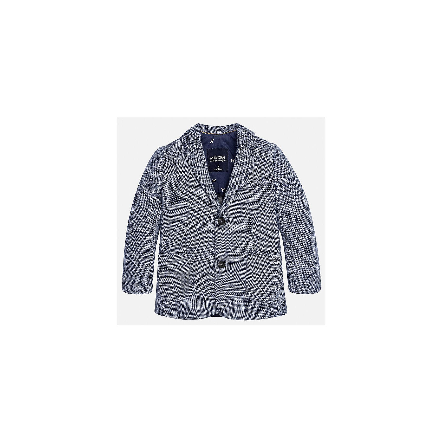 Пиджак для мальчика MayoralКостюмы и пиджаки<br>Характеристики товара:<br><br>• цвет: серый<br>• состав ткани: 53% хлопок, 35% полиэстер, 12% полиамид<br>• подкладка: 100% полиэстер<br>• сезон: демисезон<br>• особенности модели: школьная<br>• длинные рукава<br>• застежка: пуговицы<br>• страна бренда: Испания<br>• страна изготовитель: Индия<br><br>Черный классический детский пиджак для мальчика отлично подойдет для похода в школу или для торжественных случаев. Хороший способ обеспечить ребенку аккуратный внешний вид и комфорт - надеть детский пиджак от Mayoral. Детский пиджак сшит из приятного на ощупь материала. <br><br>Пиджак для мальчика Mayoral (Майорал) можно купить в нашем интернет-магазине.<br><br>Ширина мм: 190<br>Глубина мм: 74<br>Высота мм: 229<br>Вес г: 236<br>Цвет: серый<br>Возраст от месяцев: 72<br>Возраст до месяцев: 84<br>Пол: Мужской<br>Возраст: Детский<br>Размер: 122,128,134,92,98,104,110,116<br>SKU: 6934697