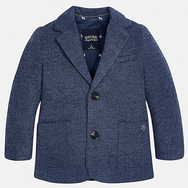 Пиджак для мальчика MayoralКостюмы и пиджаки<br>Характеристики товара:<br><br>• цвет: синий<br>• состав ткани: 53% хлопок, 35% полиэстер, 12% полиамид<br>• подкладка: 100% полиэстер<br>• сезон: демисезон<br>• особенности модели: школьная<br>• длинные рукава<br>• застежка: пуговицы<br>• страна бренда: Испания<br>• страна изготовитель: Индия<br><br>Такой синий детский пиджак сшит из приятного на материала, преимущественно имеющего в составе натуральный хлопок. Пиджак для мальчика Mayoral дополнен накладными карманами. Пиджак для ребенка отличается классическим силуэтом. Детский пиджак обеспечит ребенку аккуратный внешний вид. <br><br>Пиджак для мальчика Mayoral (Майорал) можно купить в нашем интернет-магазине.<br>Ширина мм: 190; Глубина мм: 74; Высота мм: 229; Вес г: 236; Цвет: синий; Возраст от месяцев: 96; Возраст до месяцев: 108; Пол: Мужской; Возраст: Детский; Размер: 134,92,128,122,116,110,104,98; SKU: 6934706;